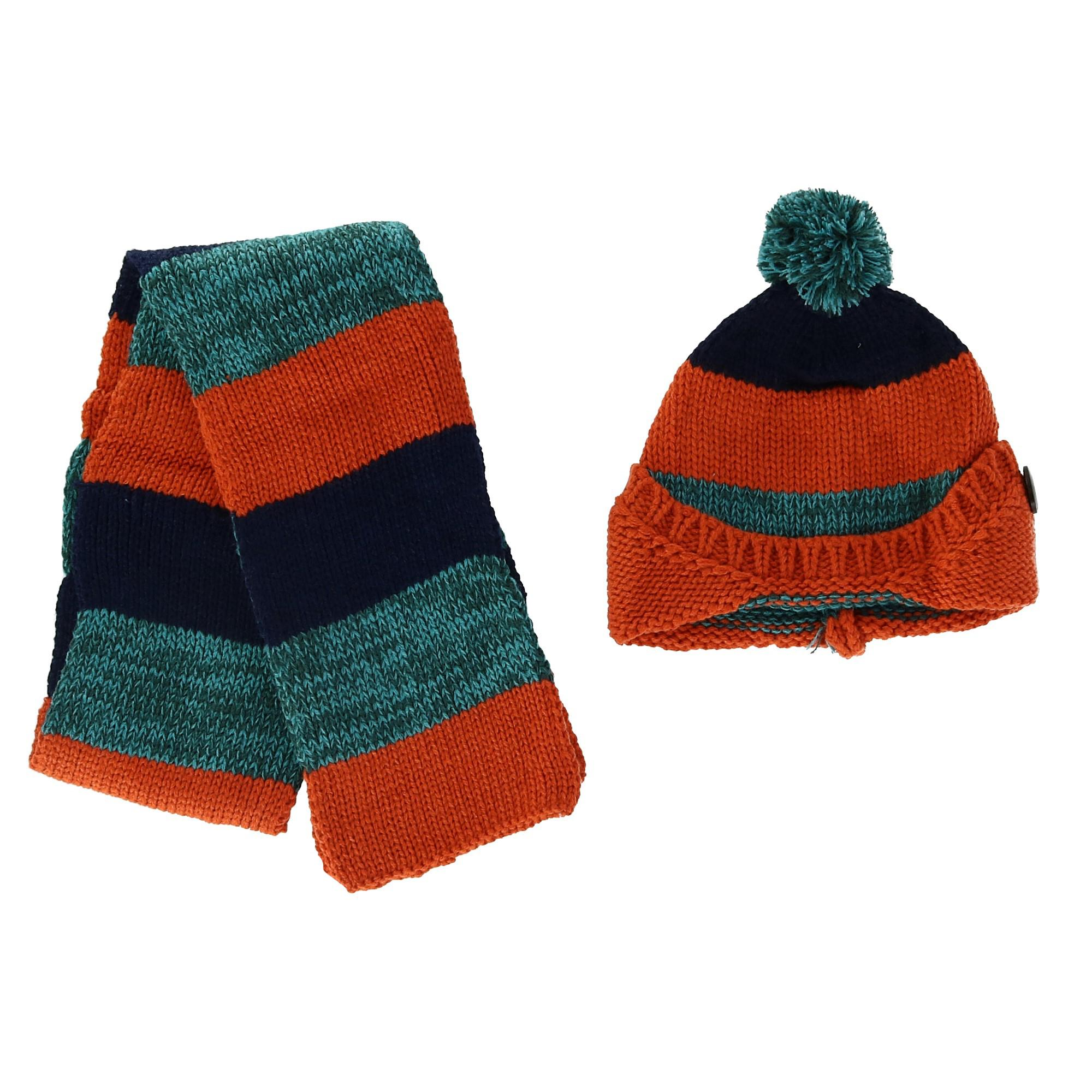 Foemo Kids' Knitted Scarf and Beanie with