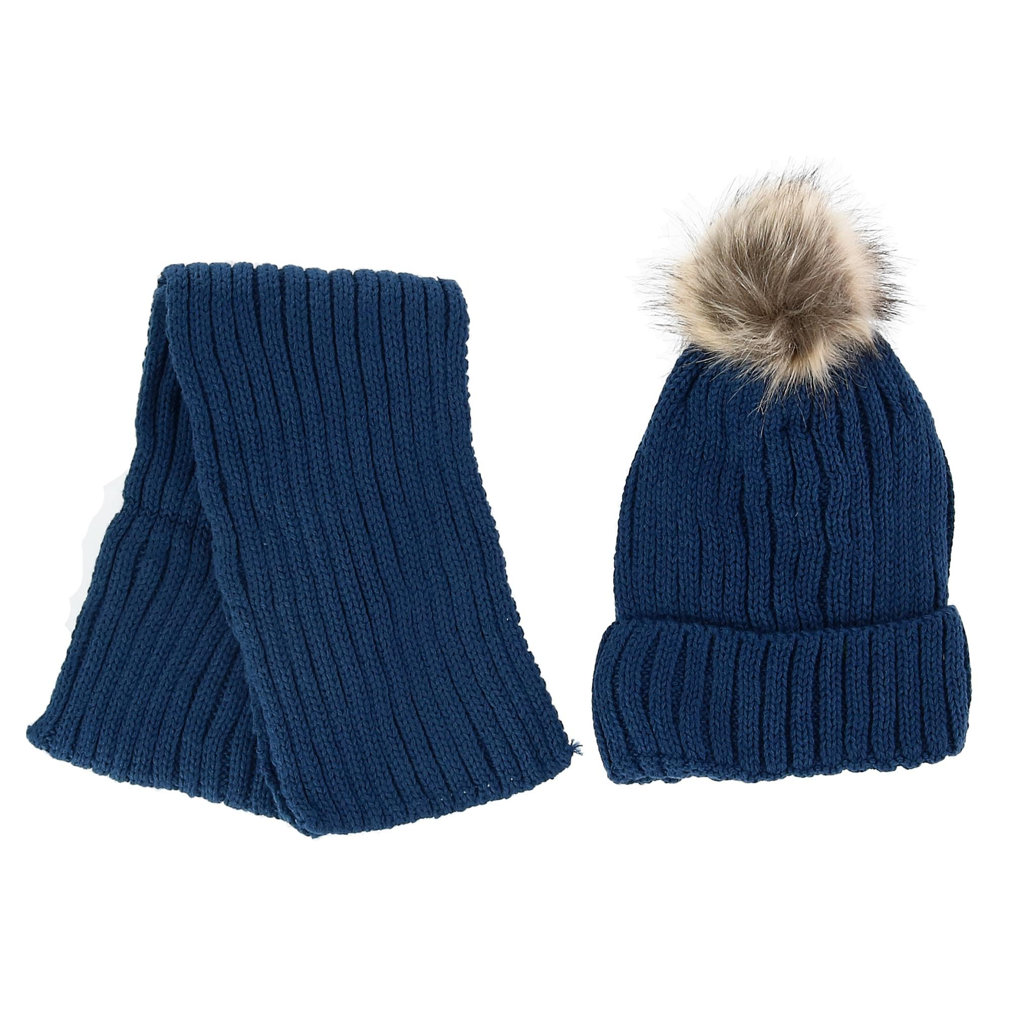 Foemo Kids' Ribbed Knit Winter Hat and