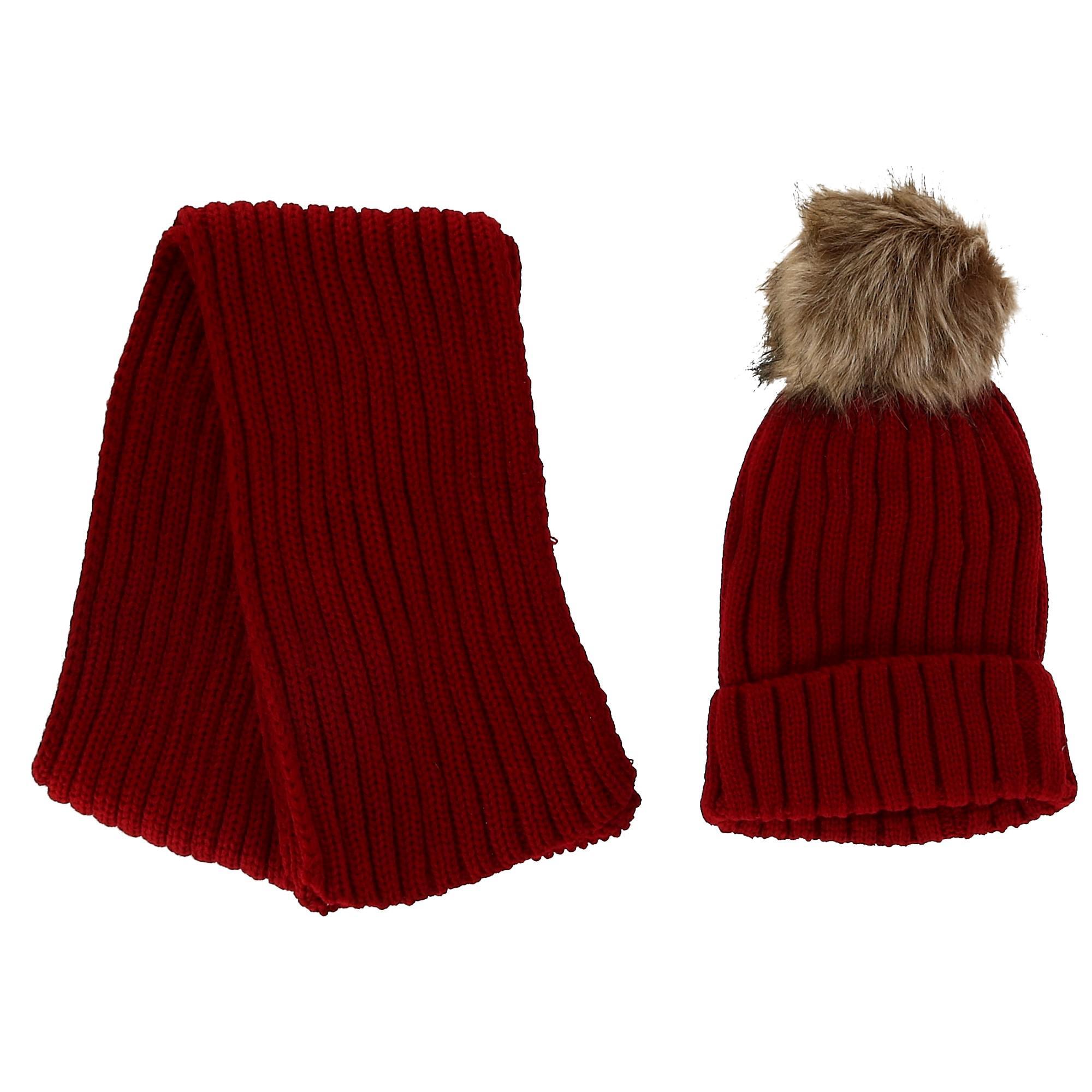 Foemo Kids' Ribbed Knit Winter Hat and