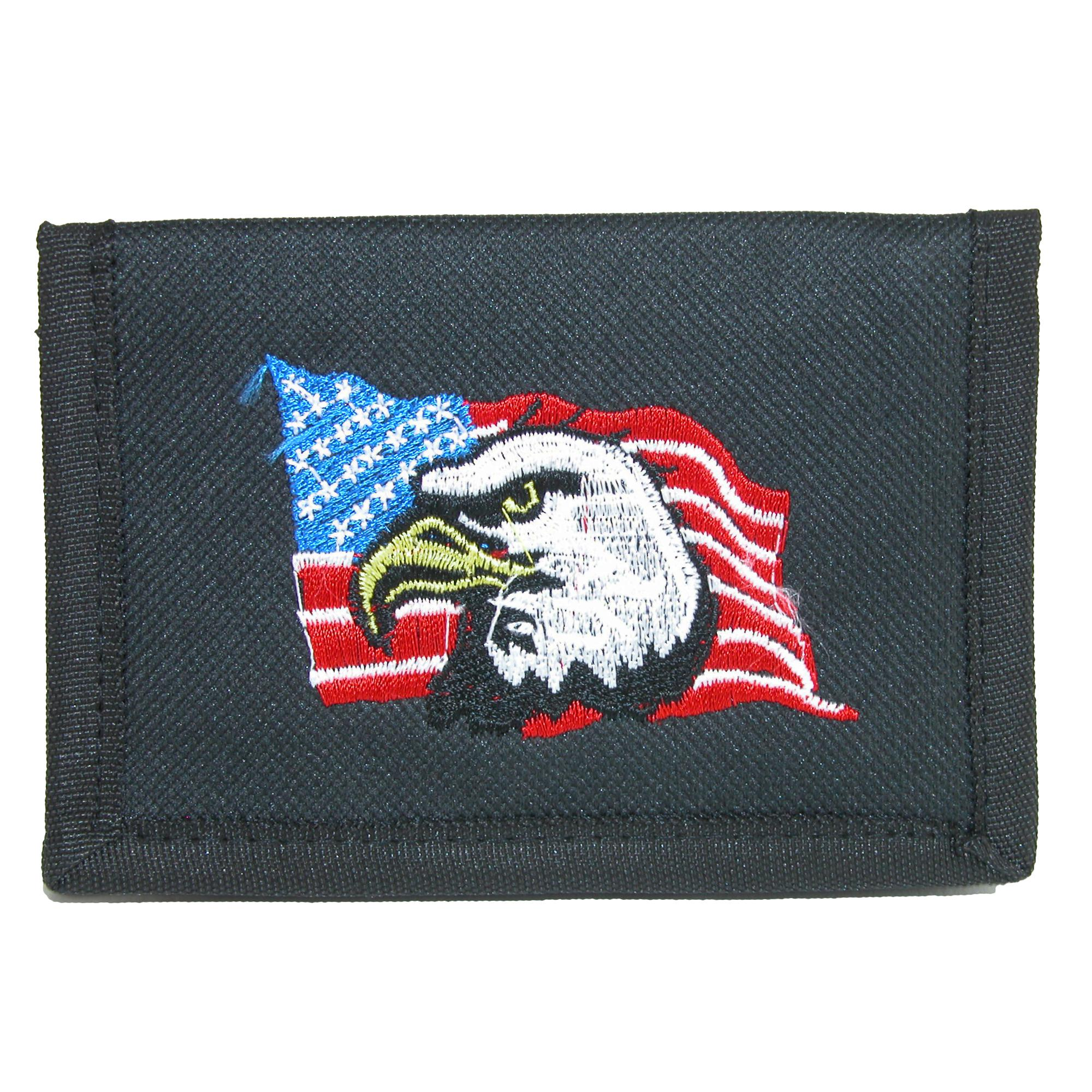 Parquet Mens Hook & Loop Trifold Wallet With American Flag & Eagle Embroidery