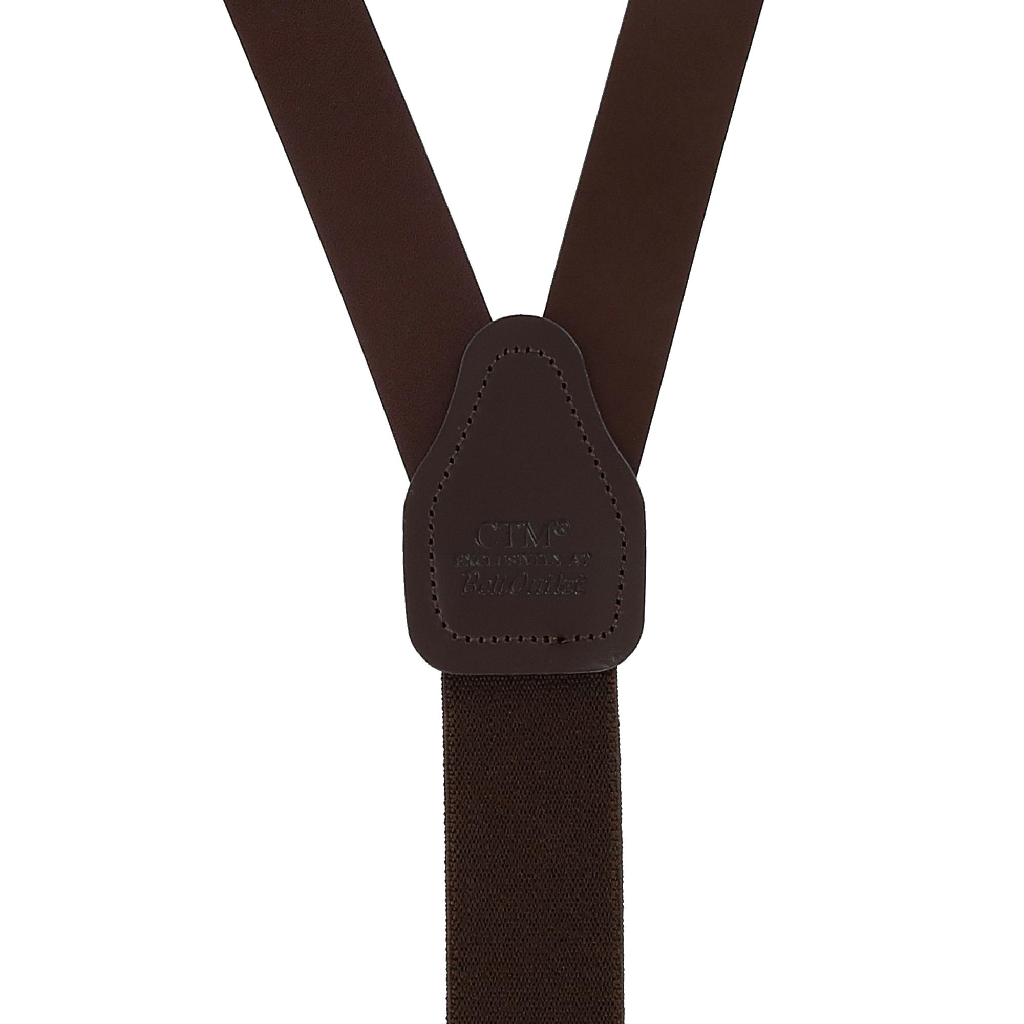New CTM Men/'s Leather Clip End Suspenders with Buckle Strap Tall Available