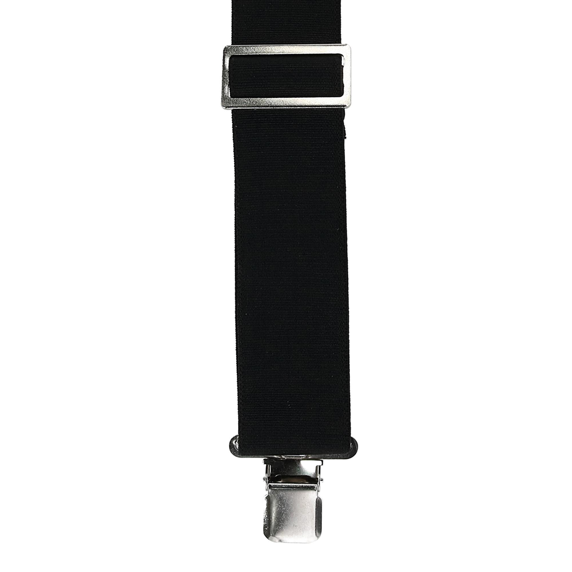 CTM Mens Elastic Clip-End 2 Inch Fireman Suspenders Black SF-FA450-BLK