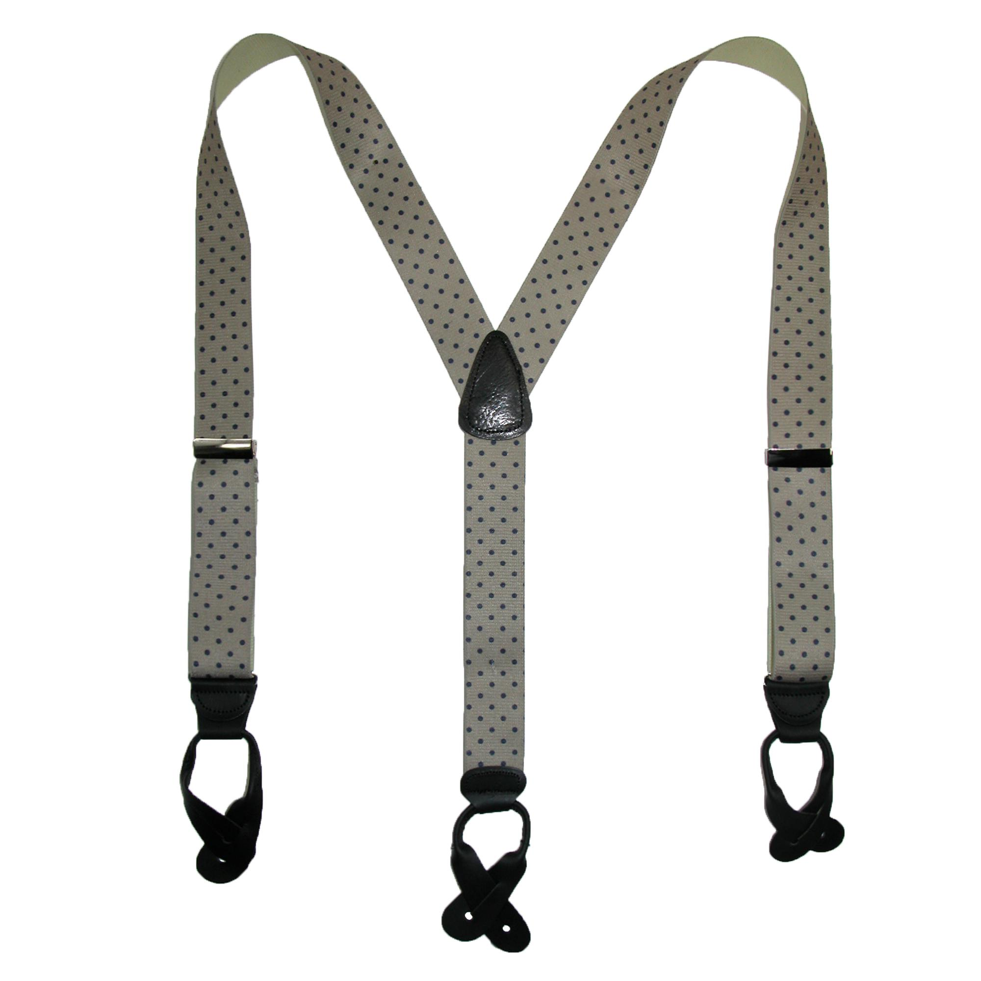 CTM_Men's_Silk_Button-End_1_1_2_Inch_Dots_Suspenders_-_Khaki_with_Navy