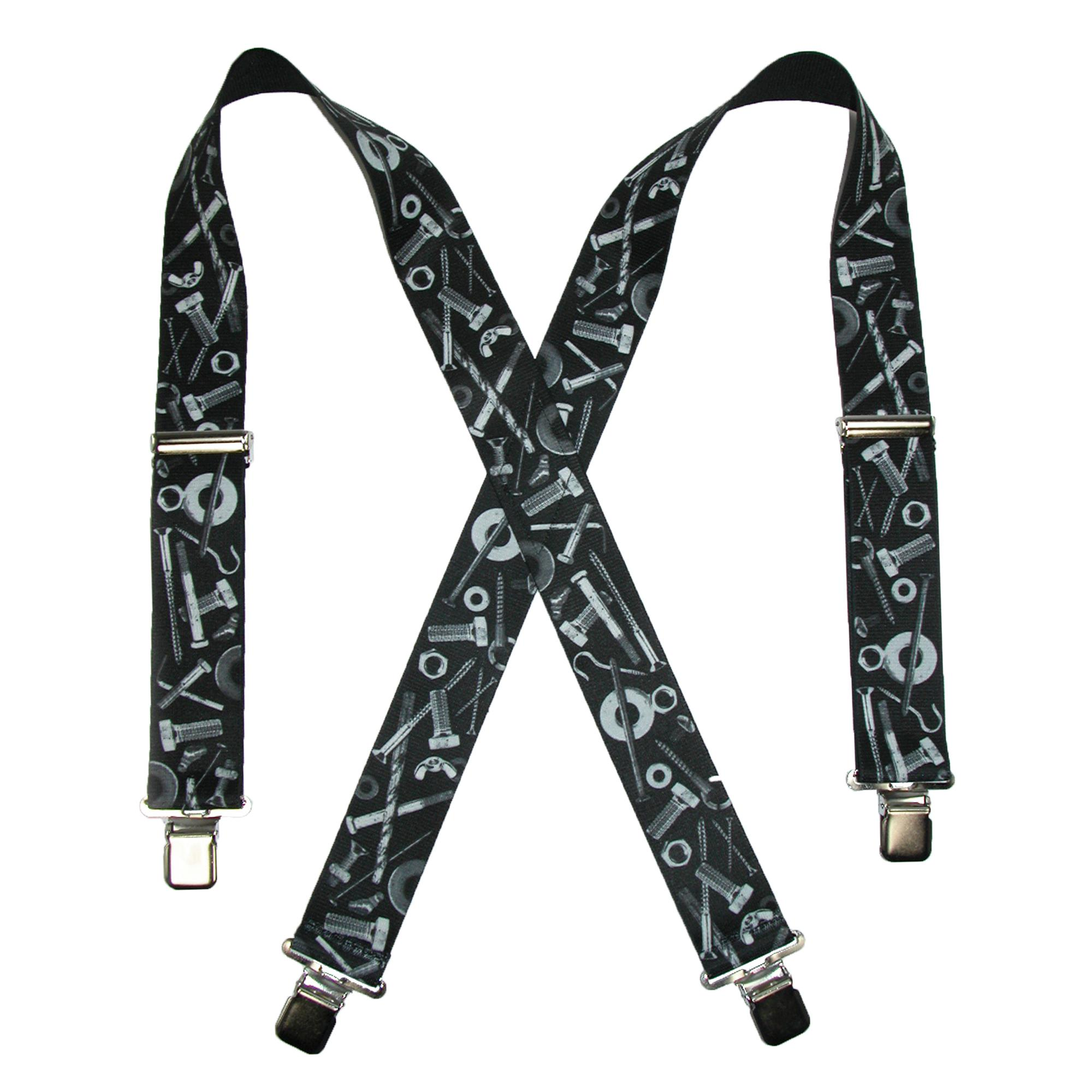 CTM_Mens_Elastic_ClipEnd_2_Inch_Nuts_&_Bolts_Medley_Suspenders_