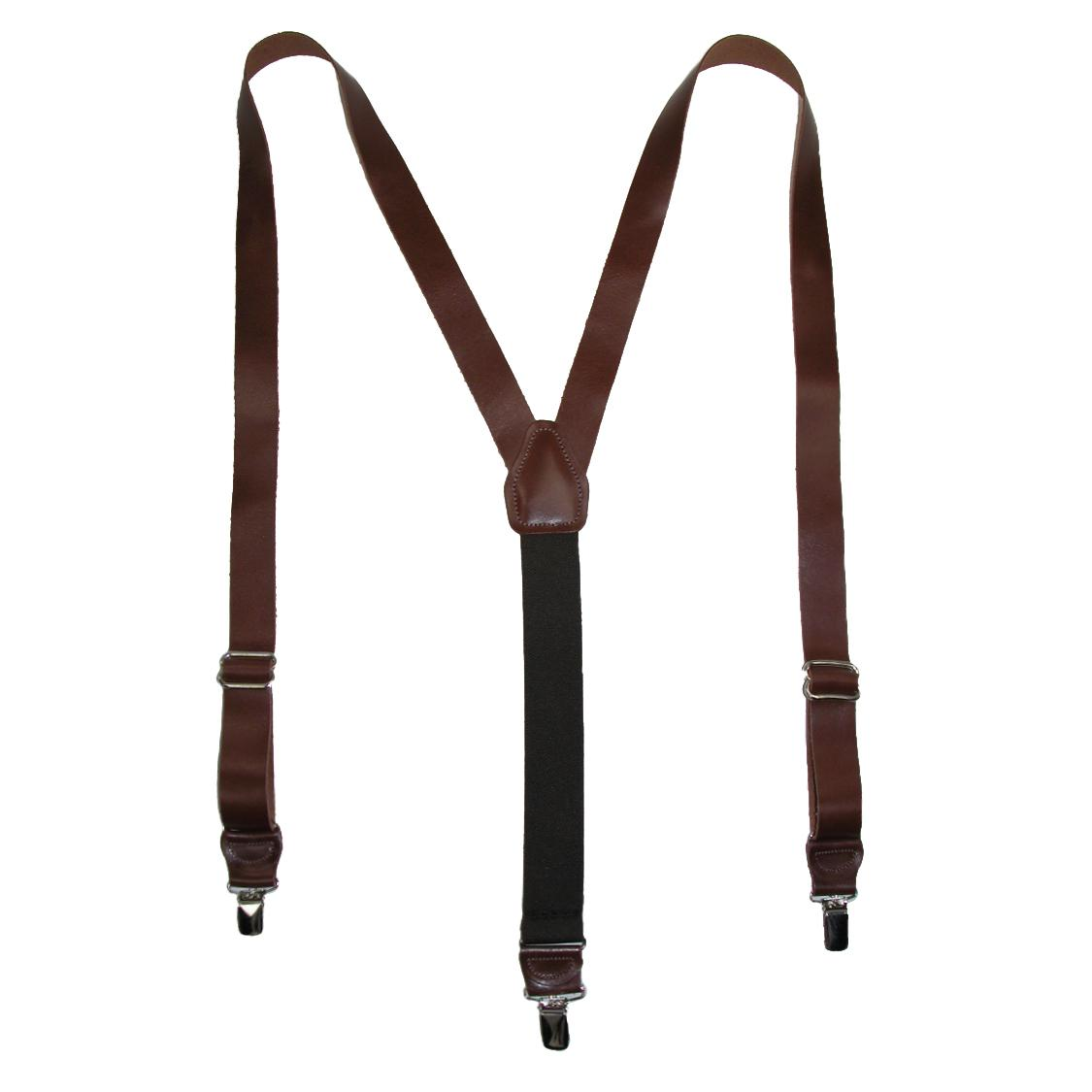 CTM_Men's_Leather_Clip-End_1_Inch_Suspenders_-_Brown_one_size