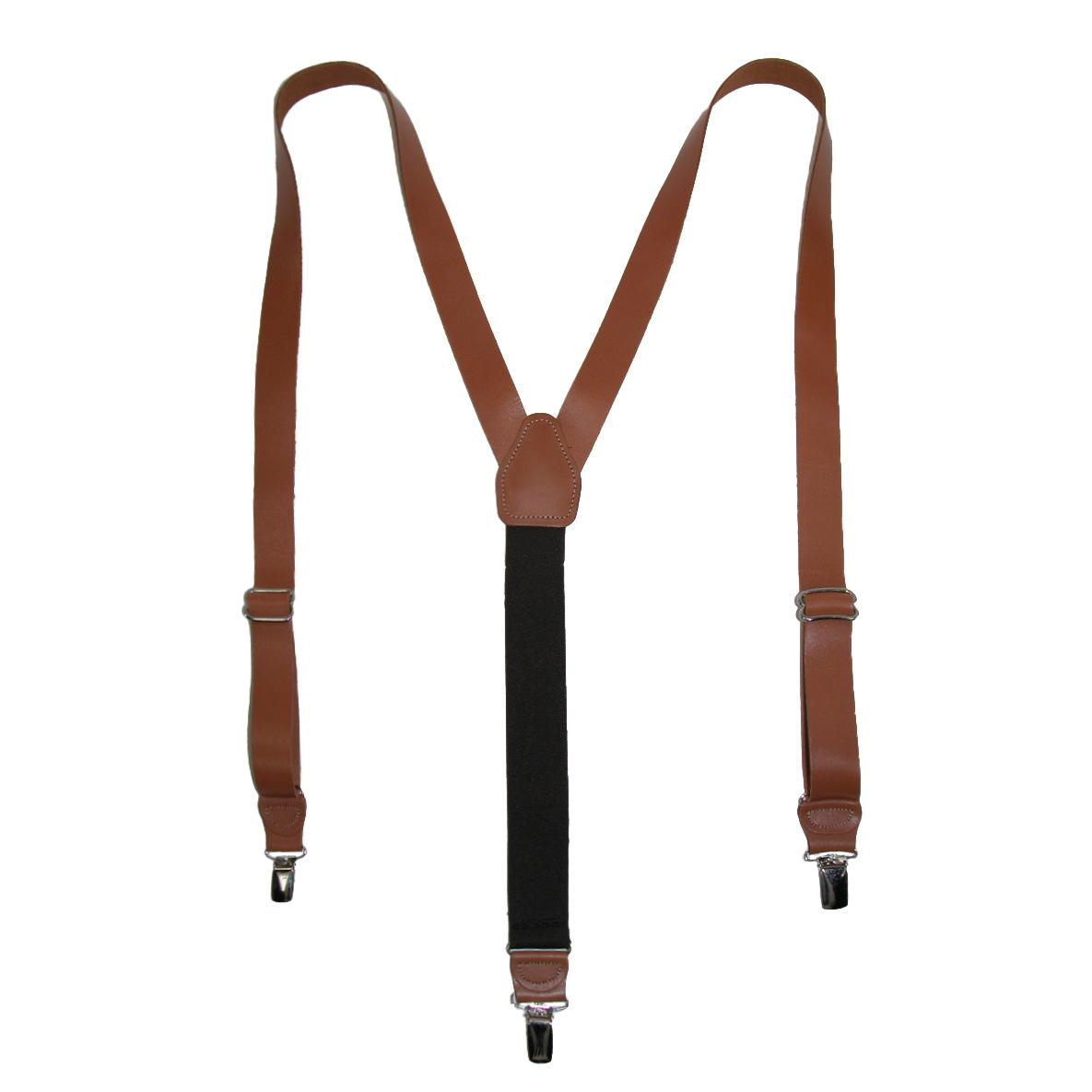 CTM_Men's_Leather_Clip-End_1_Inch_Suspenders_-_Tan_one_size