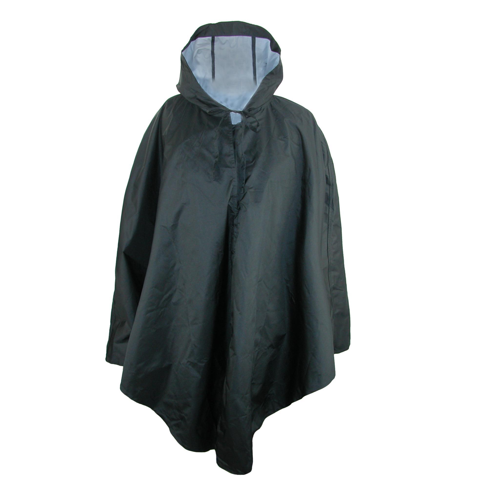 New Women Waterproof Hooded Loose Long Sleeve Solid Reversible Rain M5BD
