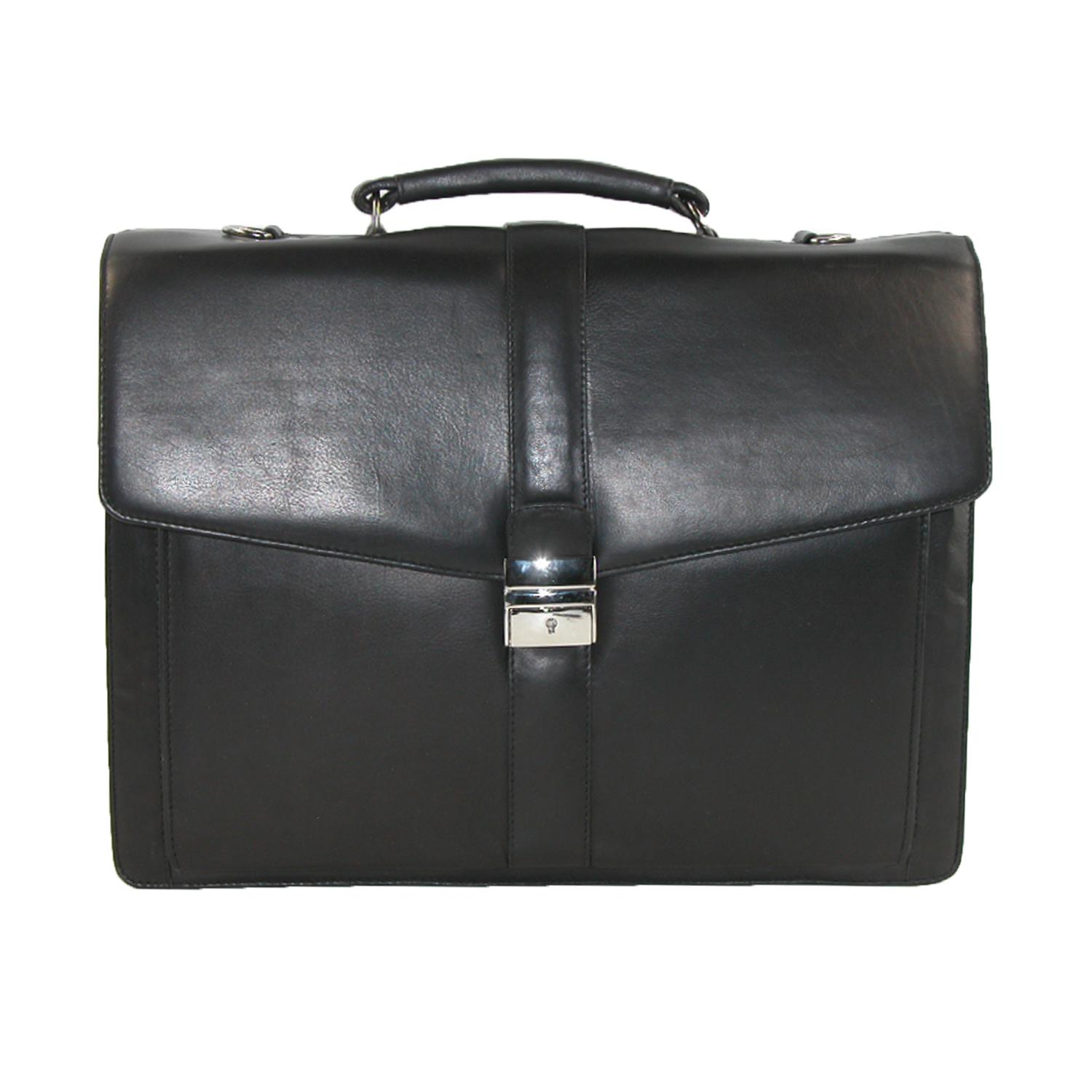 7052fc1e5633 Details about New CTM Men's Leather Laptop Portfolio Briefcase