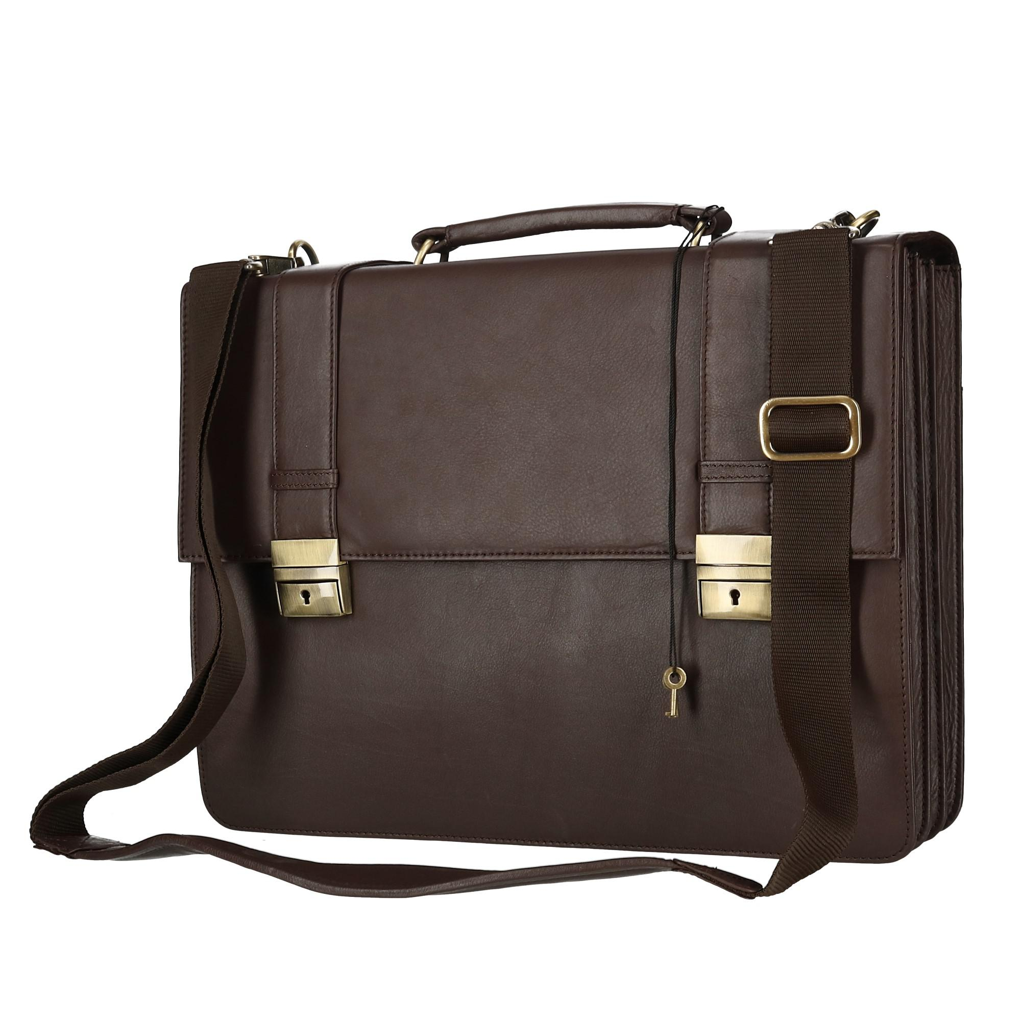 CTM Men's Classic Leather Briefcase with Laptop