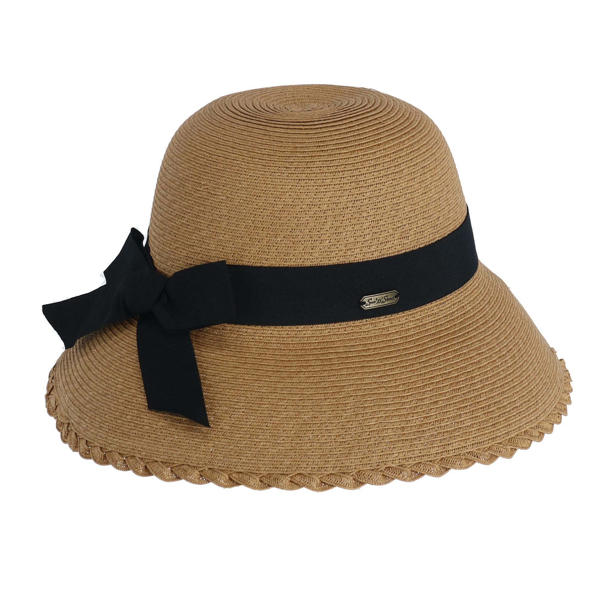 6fab18ab New Sun N Sand Women's Paper Braid Cloche with Back Bow | eBay