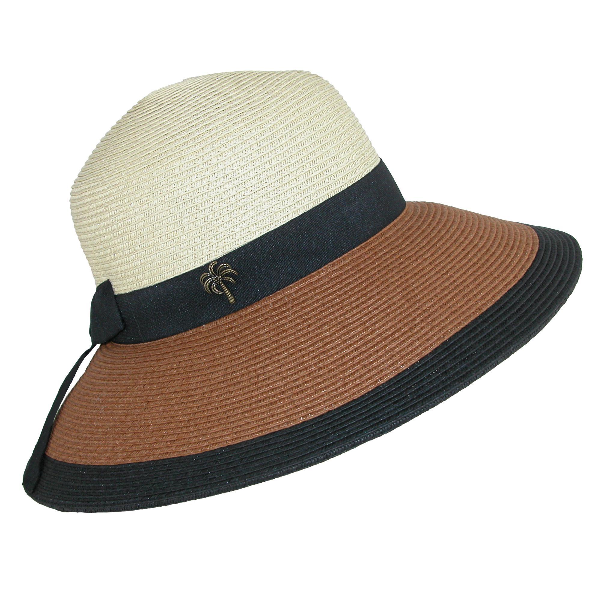 82e0e793 Details about New Sun N Sand Women's Paper Braid Color Block Sun Hat with  Black Ribbon