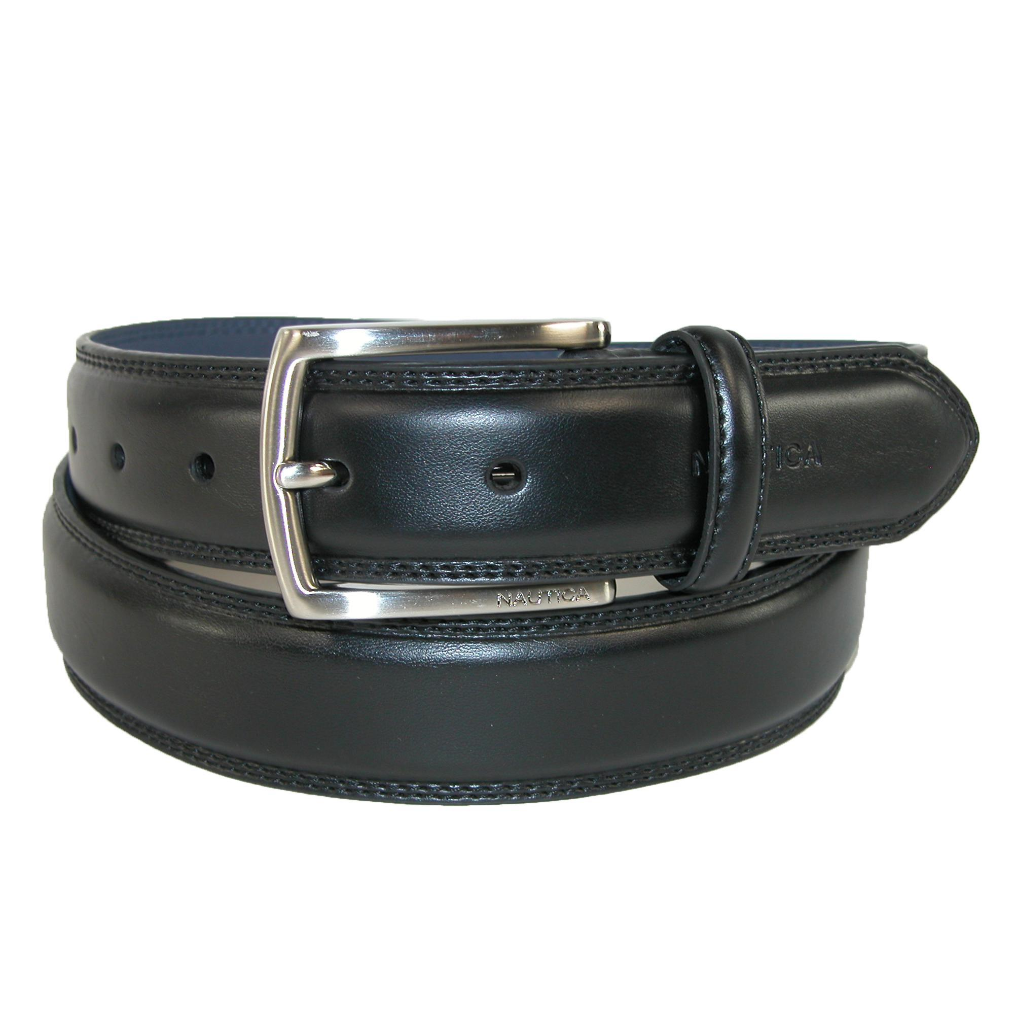 Nautica Mens Leather Feather Edge With Stitch Detail 1 3/8 Inch Belt