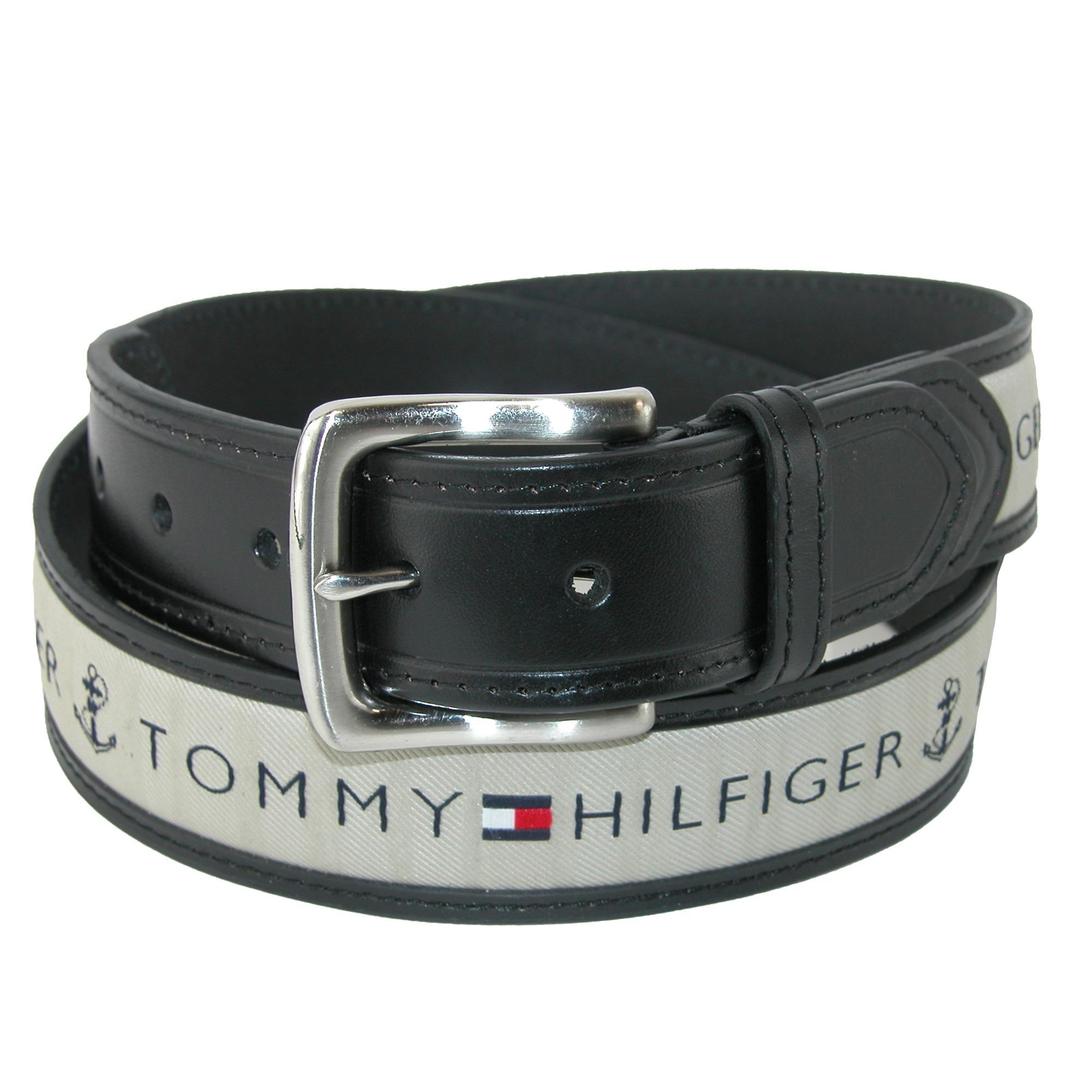 Tommy Hilfiger Mens Leather Casual Belt With Fabric Inlay
