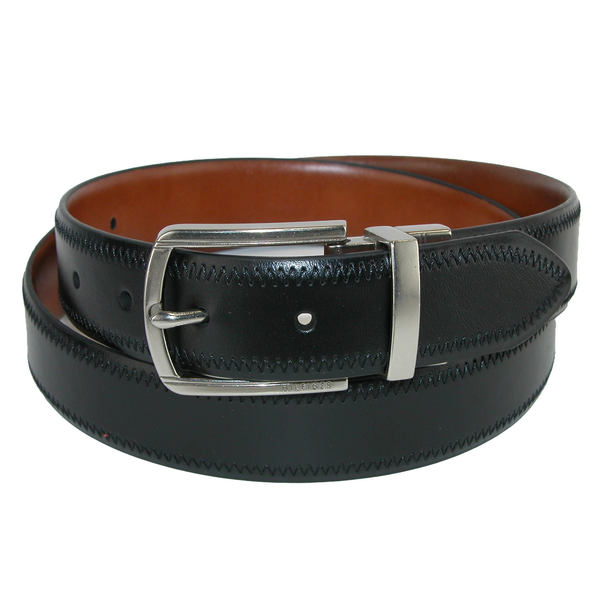 Tommy Hilfiger Mens Feather Edge Reversible Belt With Stitch