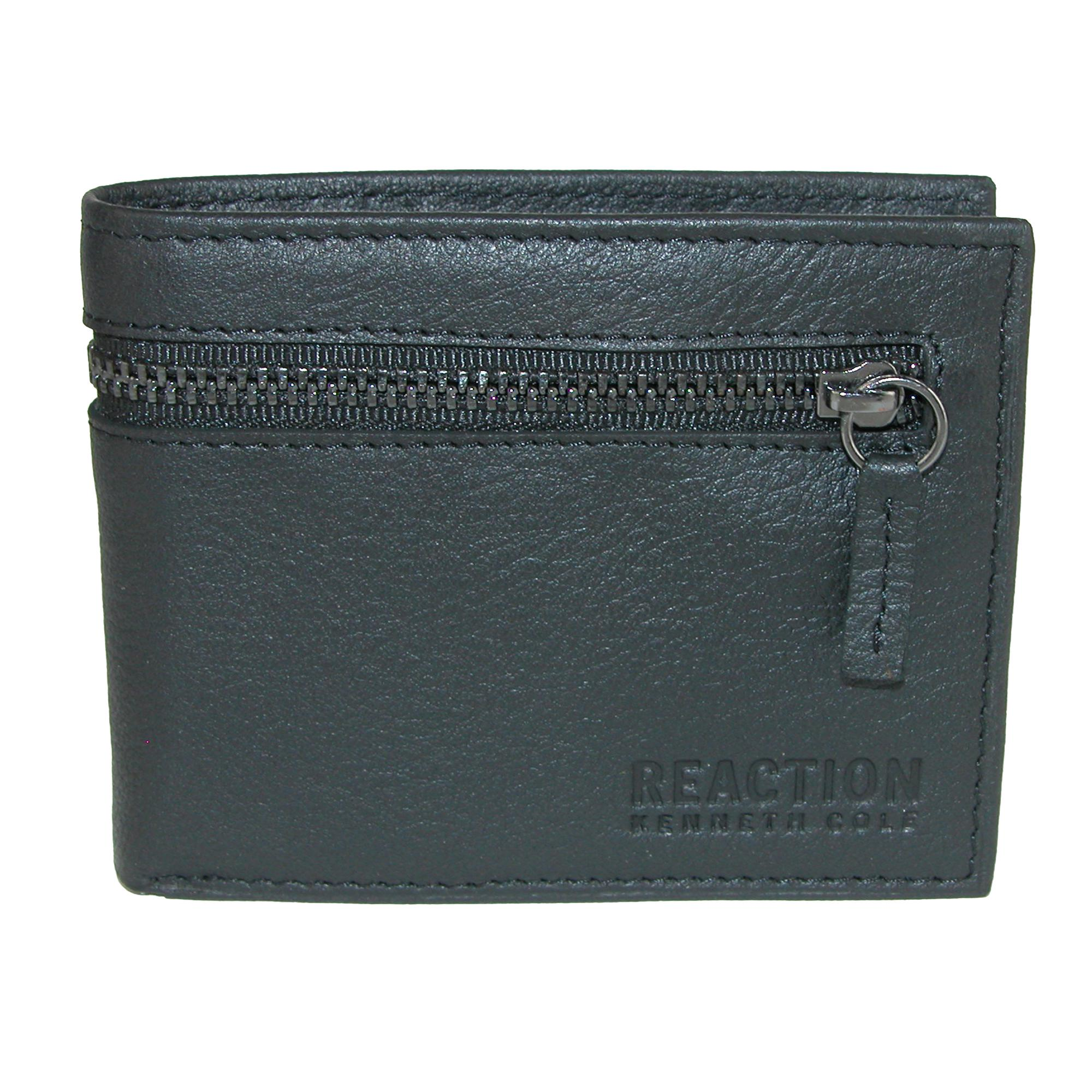 Kenneth Cole Men's Leather Slim Bifold Wallet With Exterior Zipper Pocket