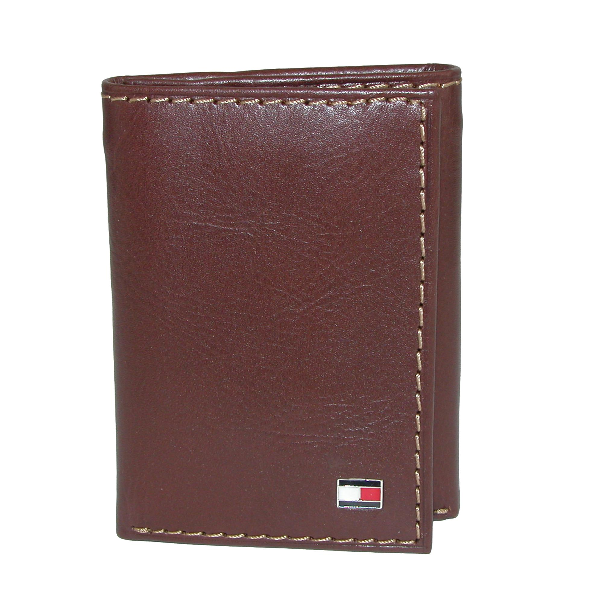 Tommy Hilfiger Men's Leather Logan Trifold Wallet With Zipper Bill Slot