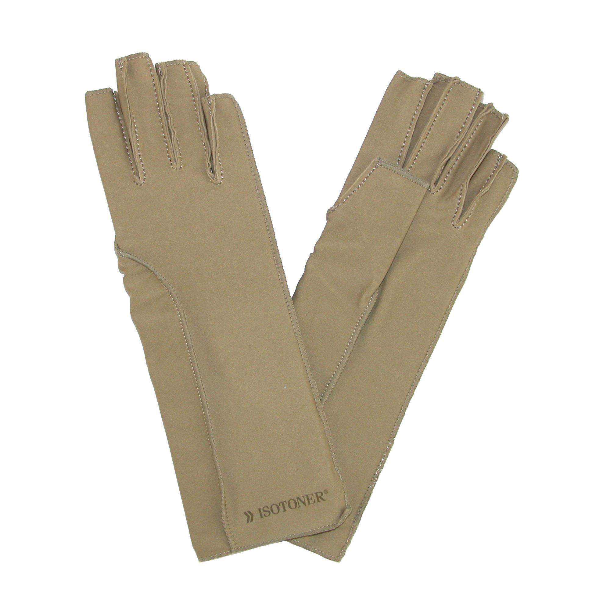 Isotoner_Therapeutic_Compression_Fingerless_Gloves_-_Camel_Tan_Medium