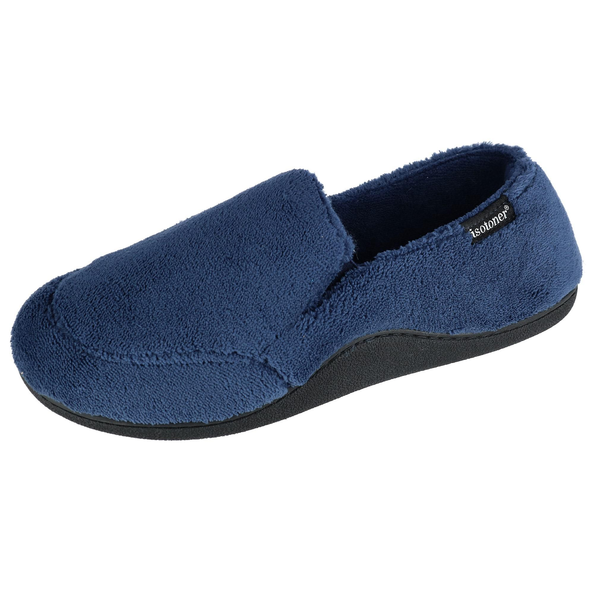 Isotoner Mens Microterry Memory Foam Indoor/outdoor Slip-on Slippers
