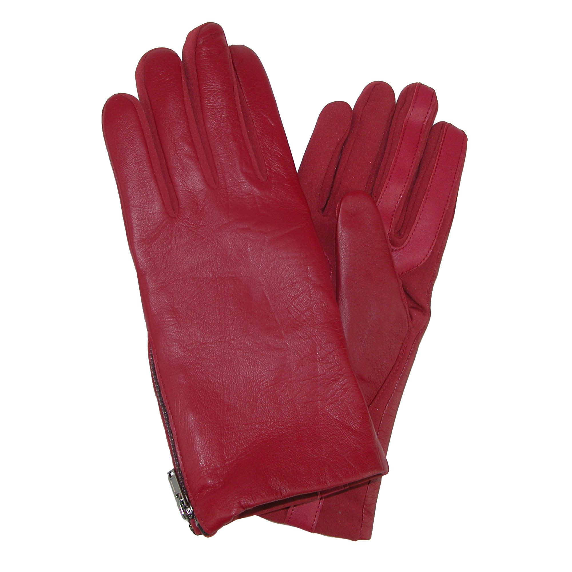 Isotoner Womens Smartouch Stretch Leather Glove With Side Zipper