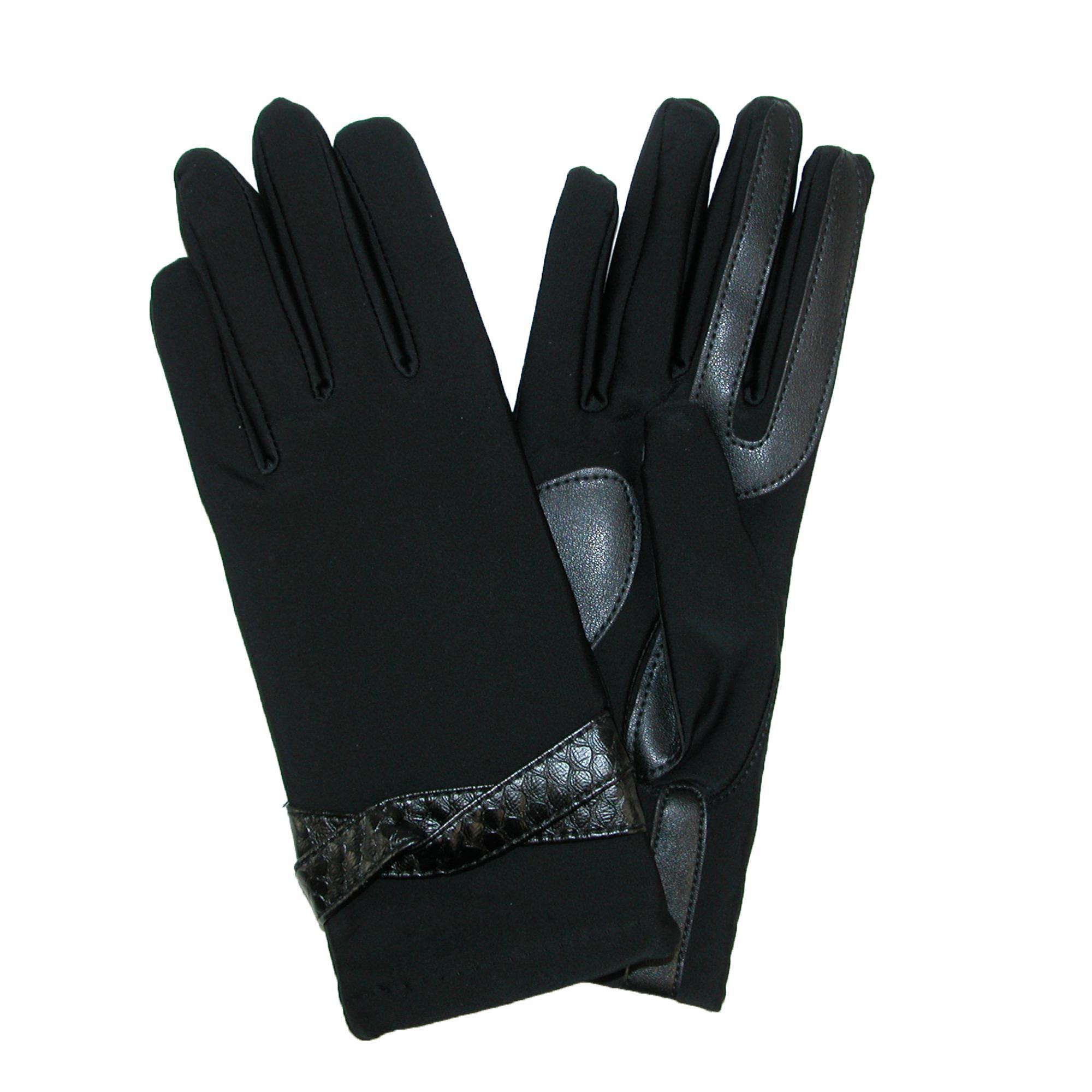 Isotoner Womens Fashion Gloves With Snake Print Belt