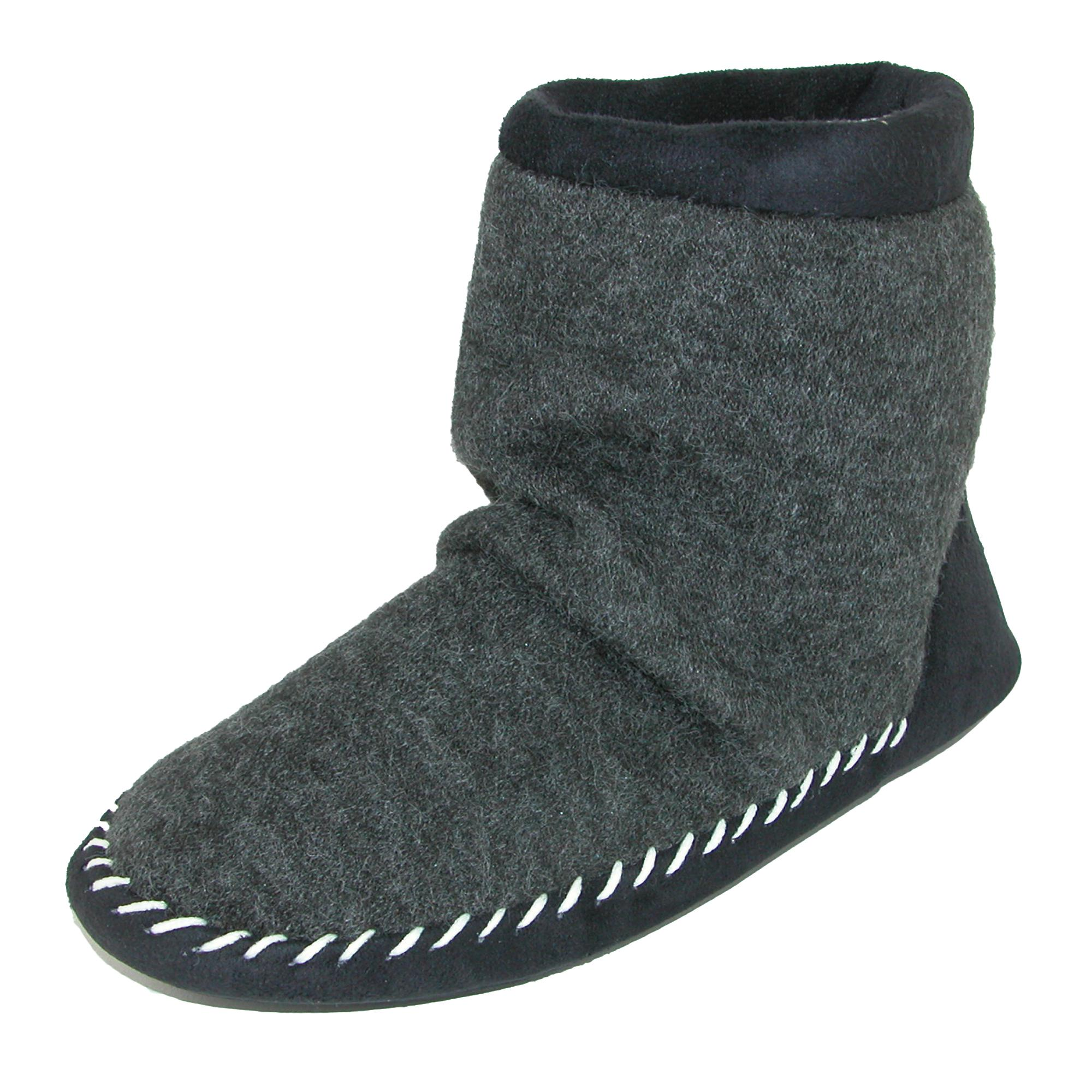 Totes Womens Microsuede & Heather Knit Marisol Boot Slipper