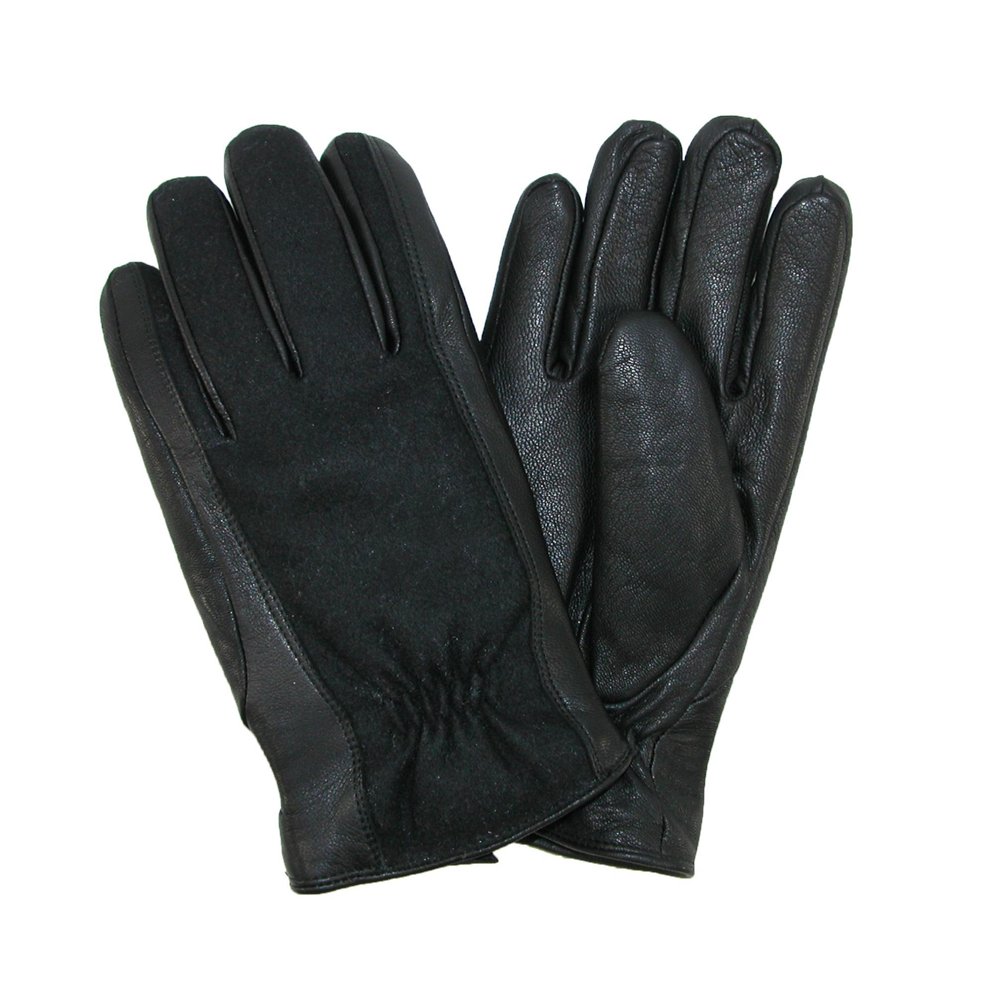 Isotoner Mens Wool And Leather Gloves