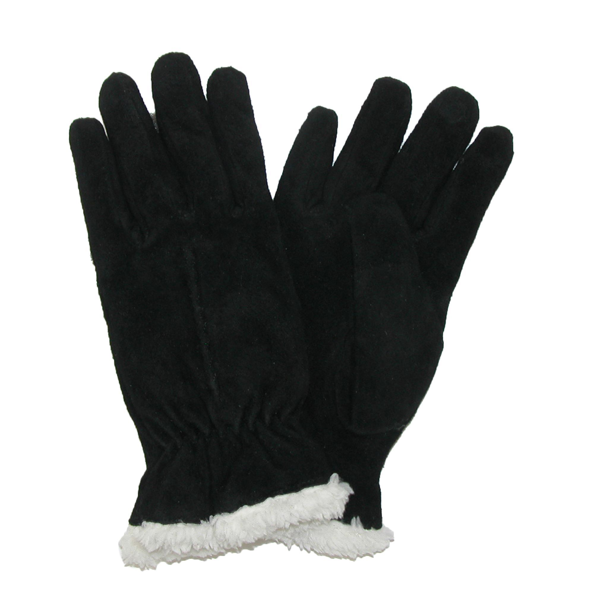 Isotoner Womens Suede With Sherpa Spill Winter Gloves