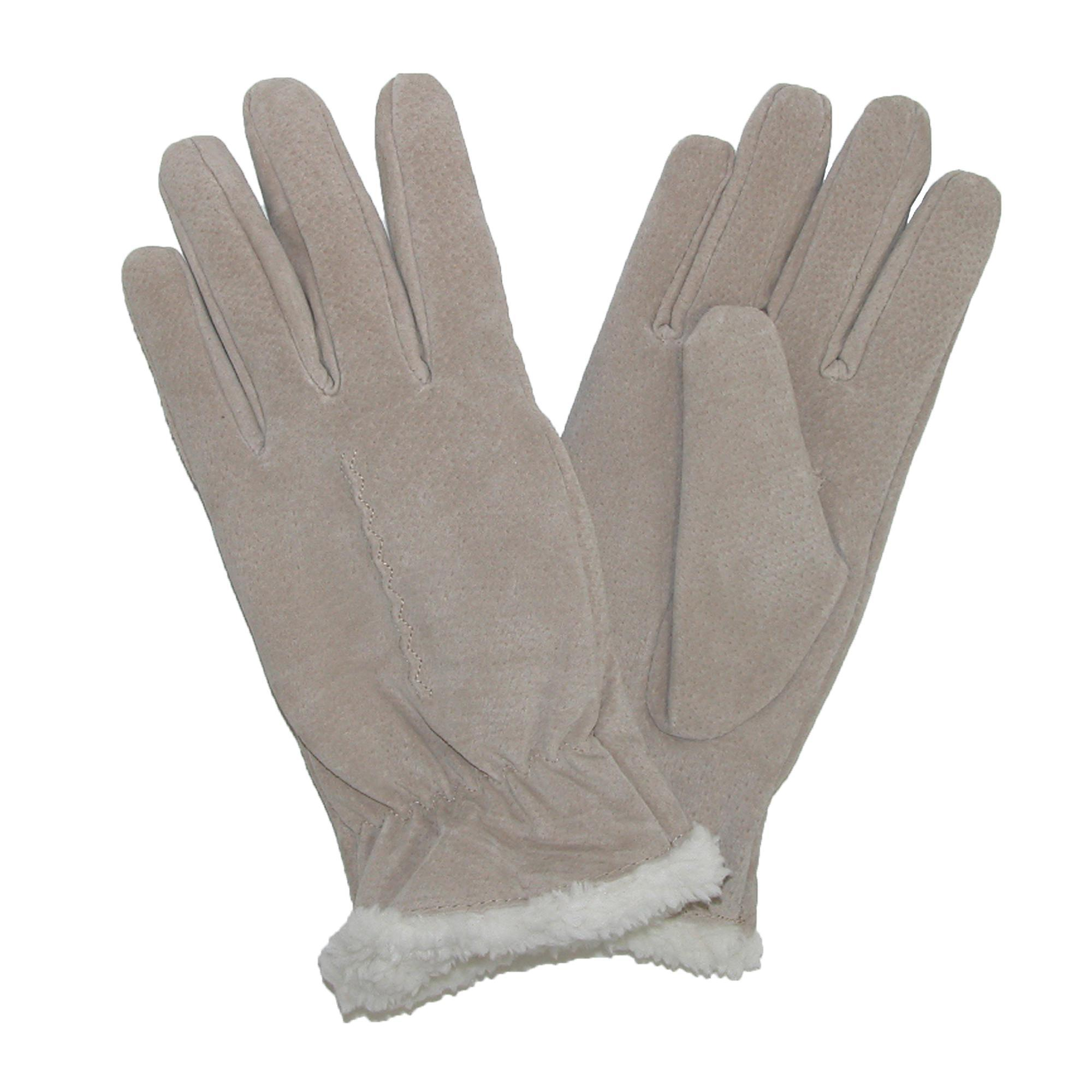 Isotoner womens leather gloves with fleece lining -  Picture 9 Of 14