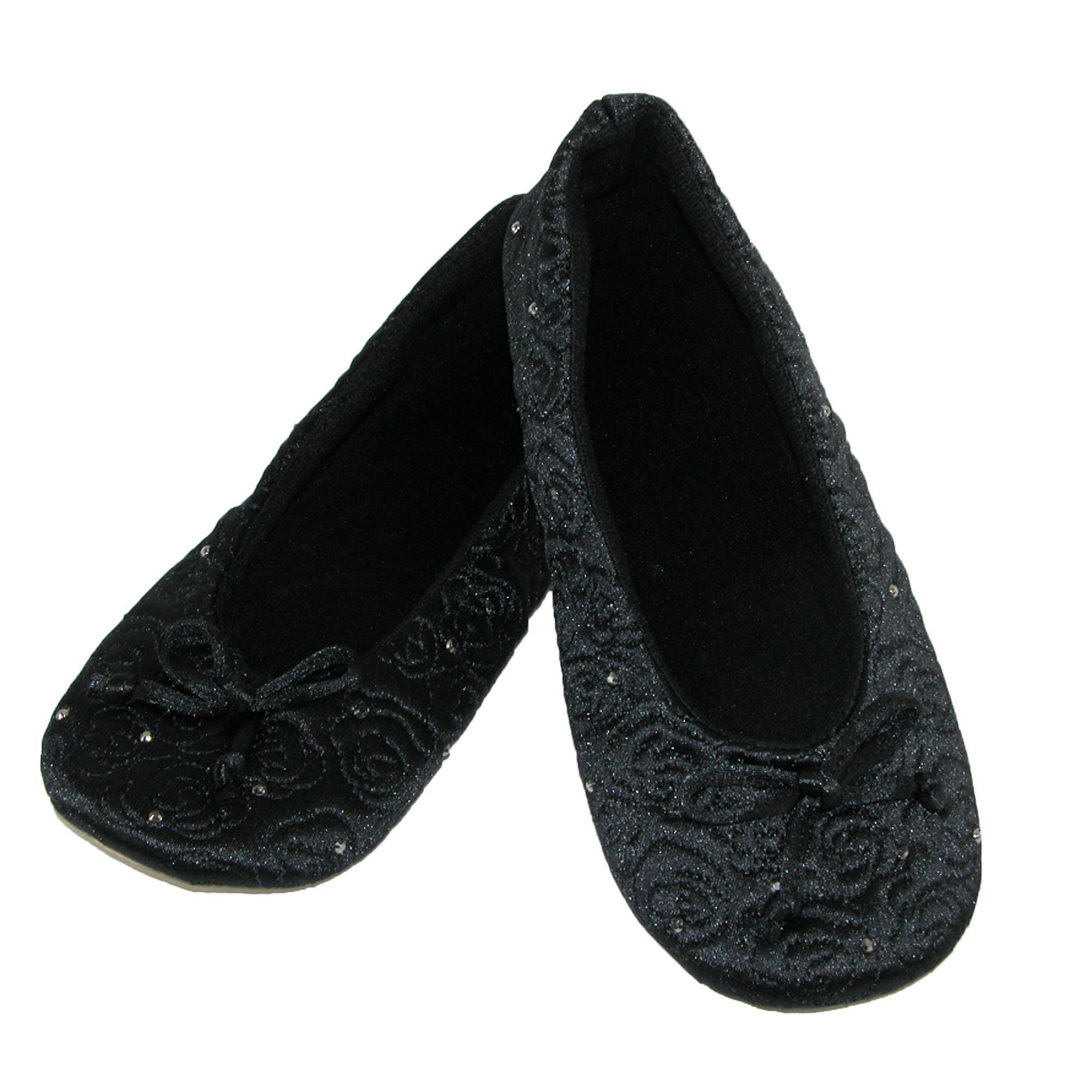 New-Isotoner-Women-039-s-Terry-Lined-Rose-Quilted-Ballerina-Slippers thumbnail 4