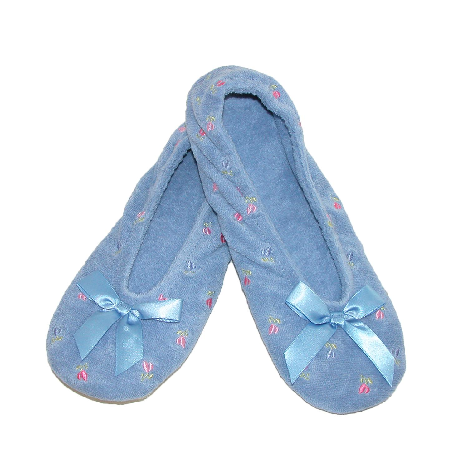 New-Isotoner-Women-039-s-Embroidered-Terry-Ballerina-Slippers thumbnail 7