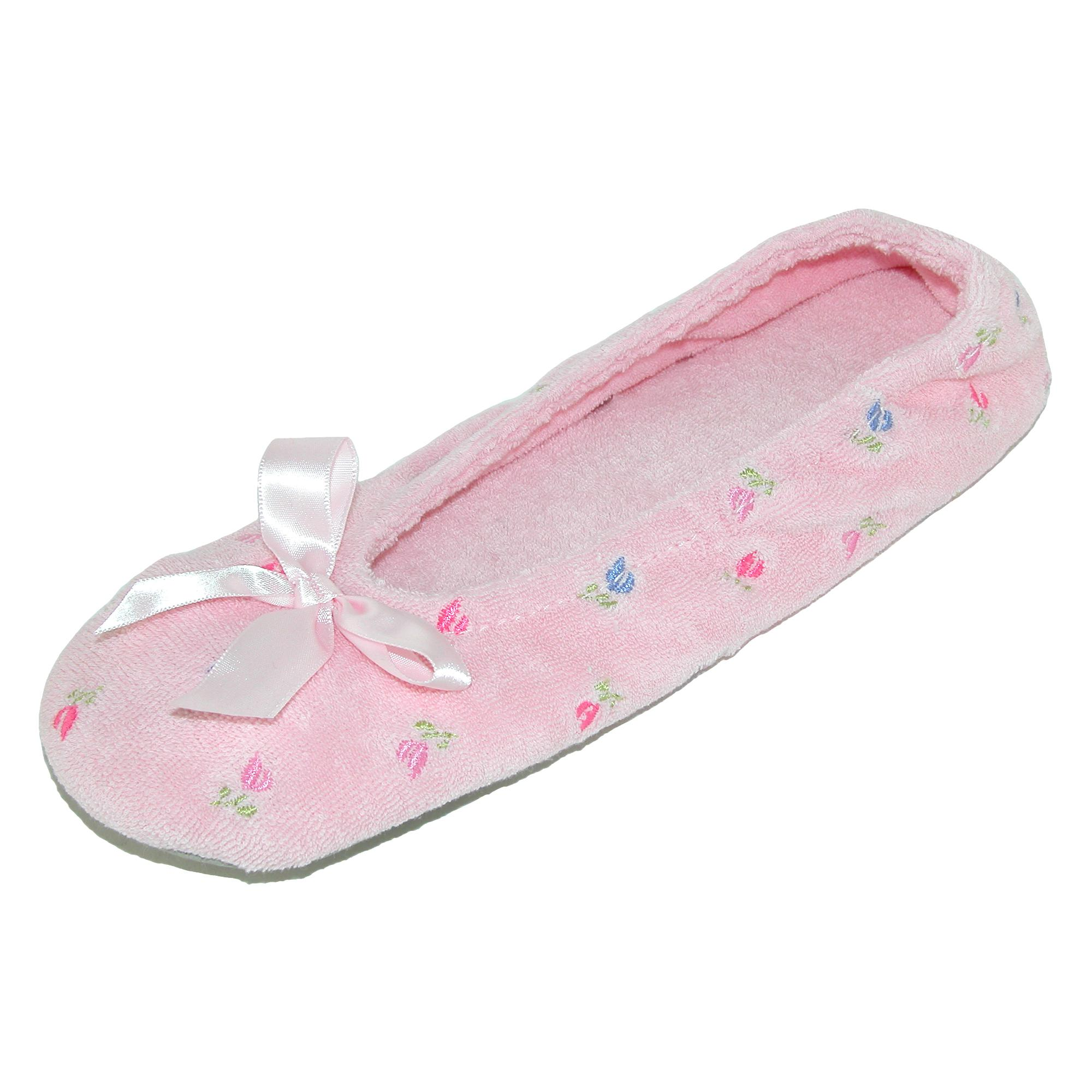 2a5140f734f Totes isotoner Womens Embroidered Terry Ballerina Slippers XLarge ...