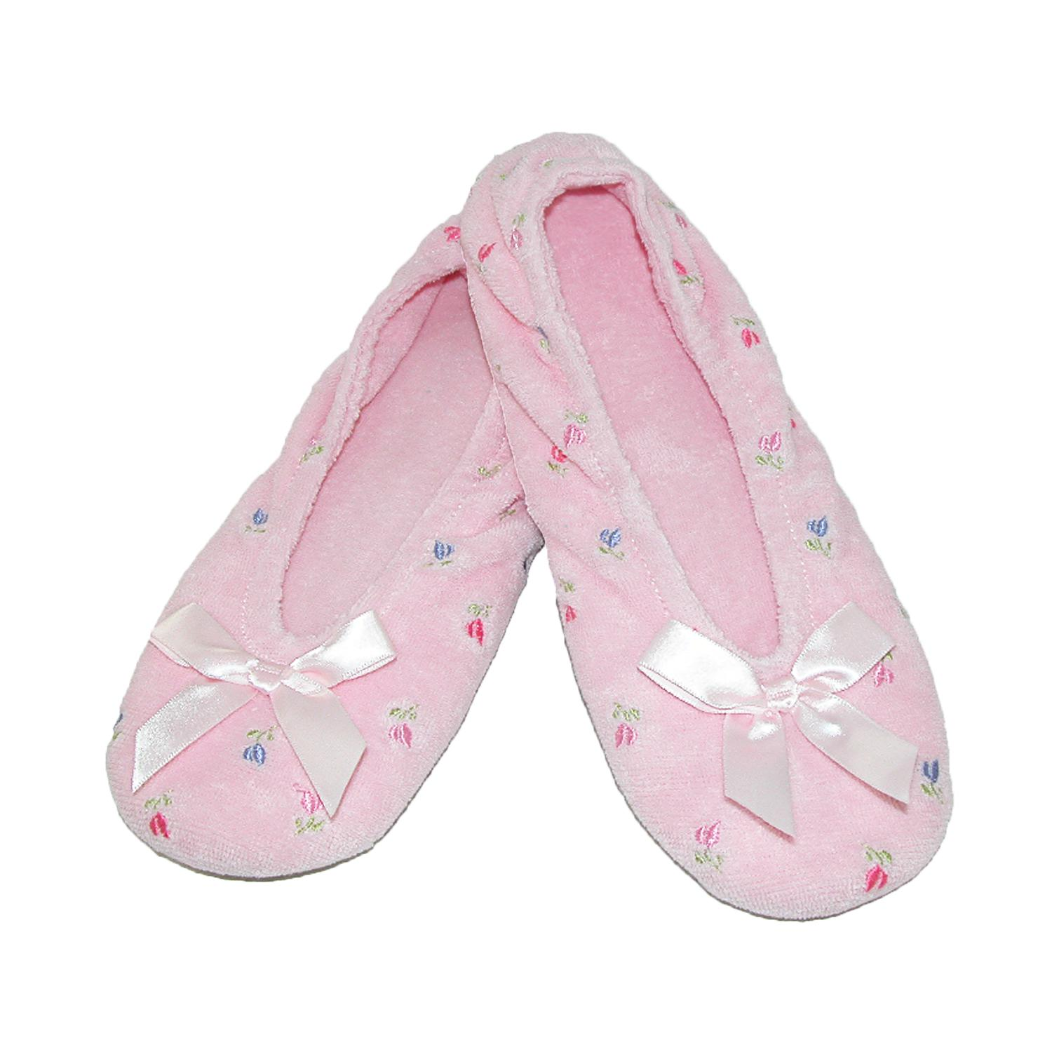 New-Isotoner-Women-039-s-Embroidered-Terry-Ballerina-Slippers thumbnail 11