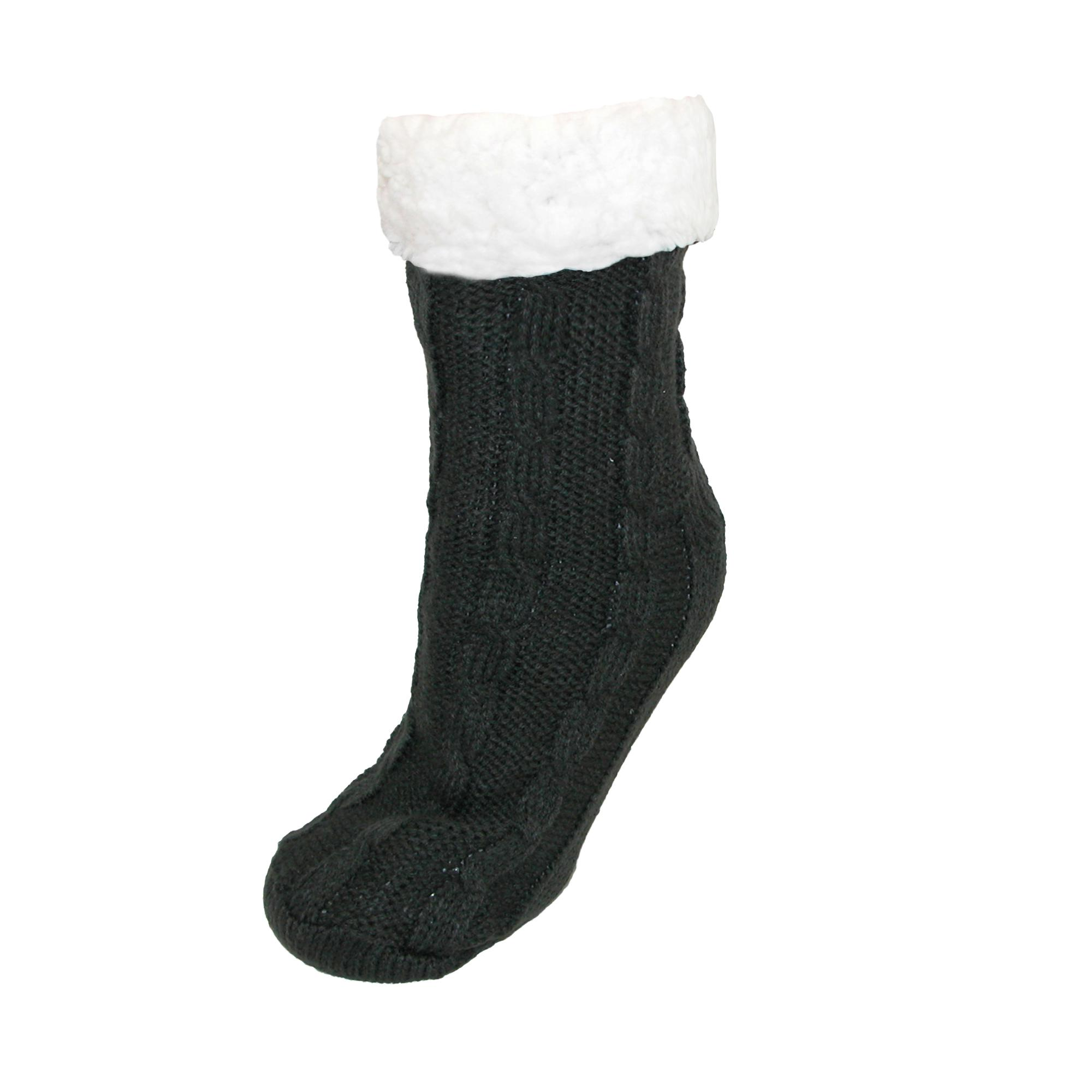 Ctm Womens Cable Knit Non-skid Slipper Sock