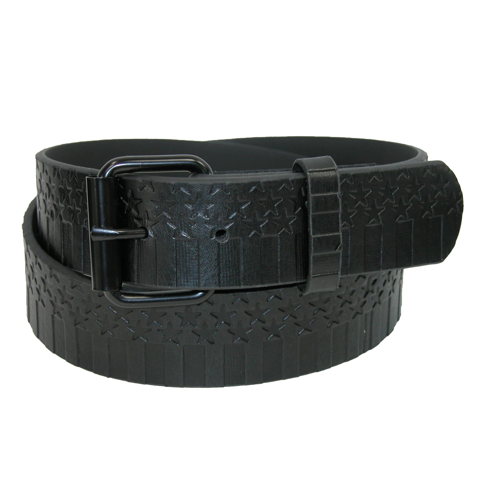 Ctm Mens Embossed Stars-n-bars With Removable Roller Buckle Belt