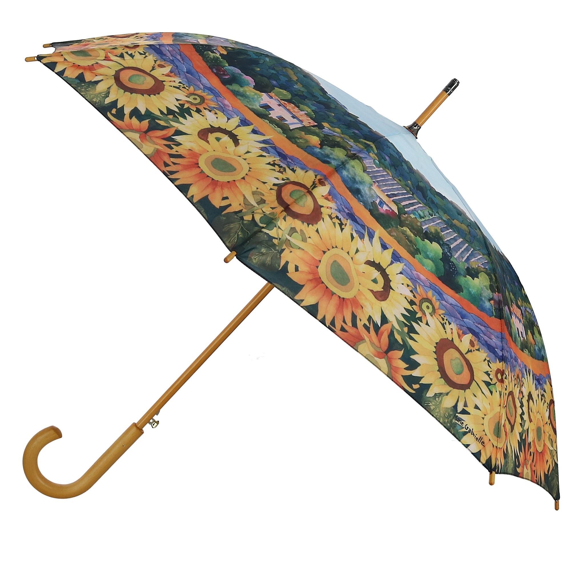 2689af264f6d Details about New CTM Women's Auto Open Sunflower Print Stick Umbrella