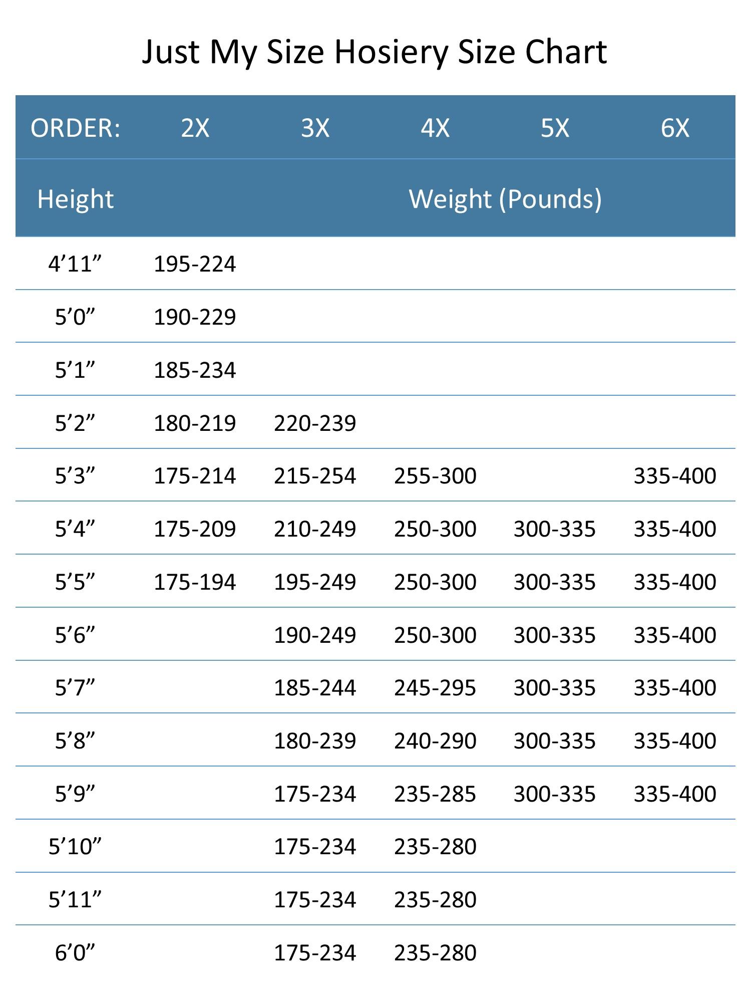 Jms size chart