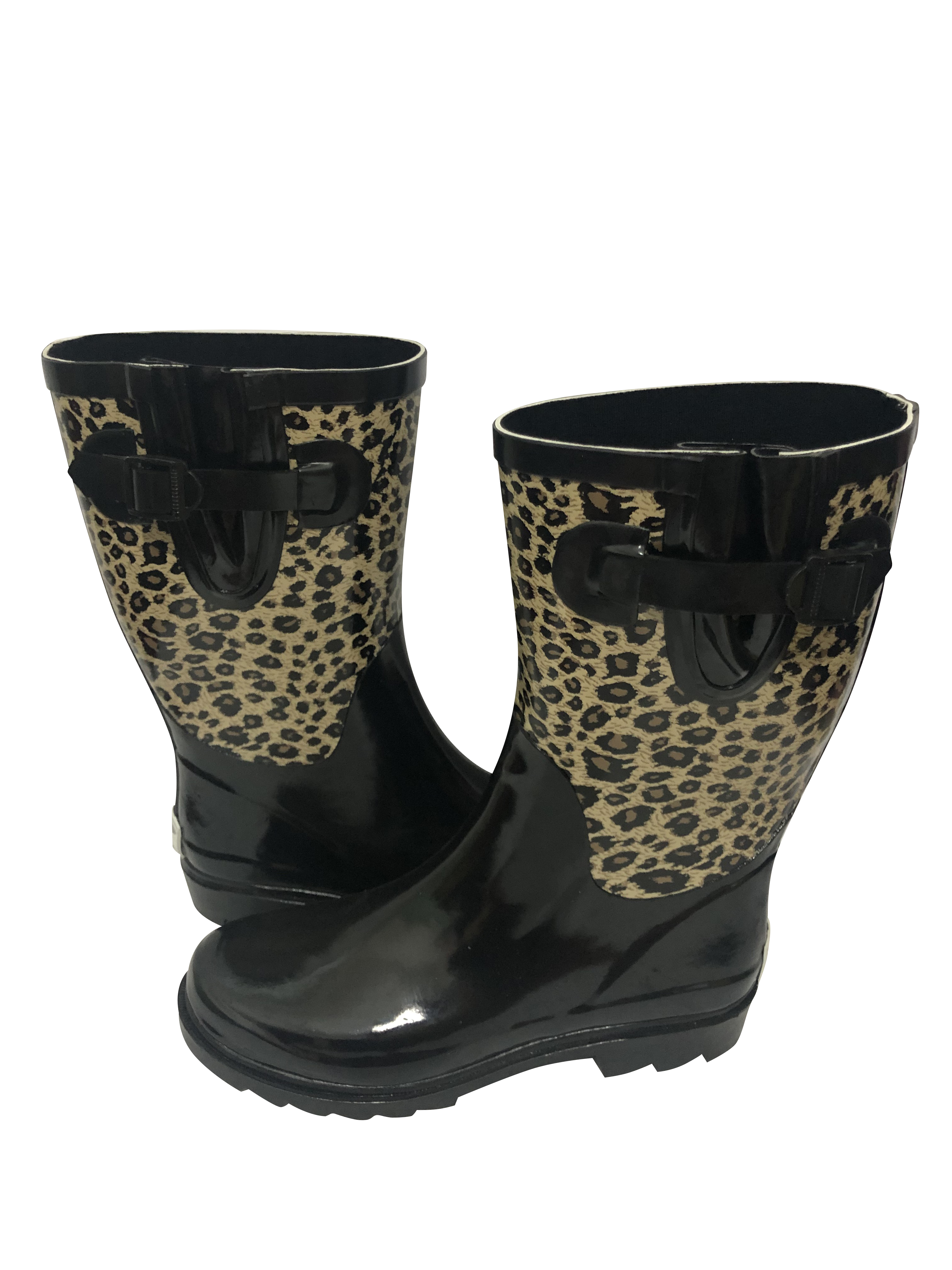 Forever Young Womens Faux Croc Tall Rubber Rain Boots