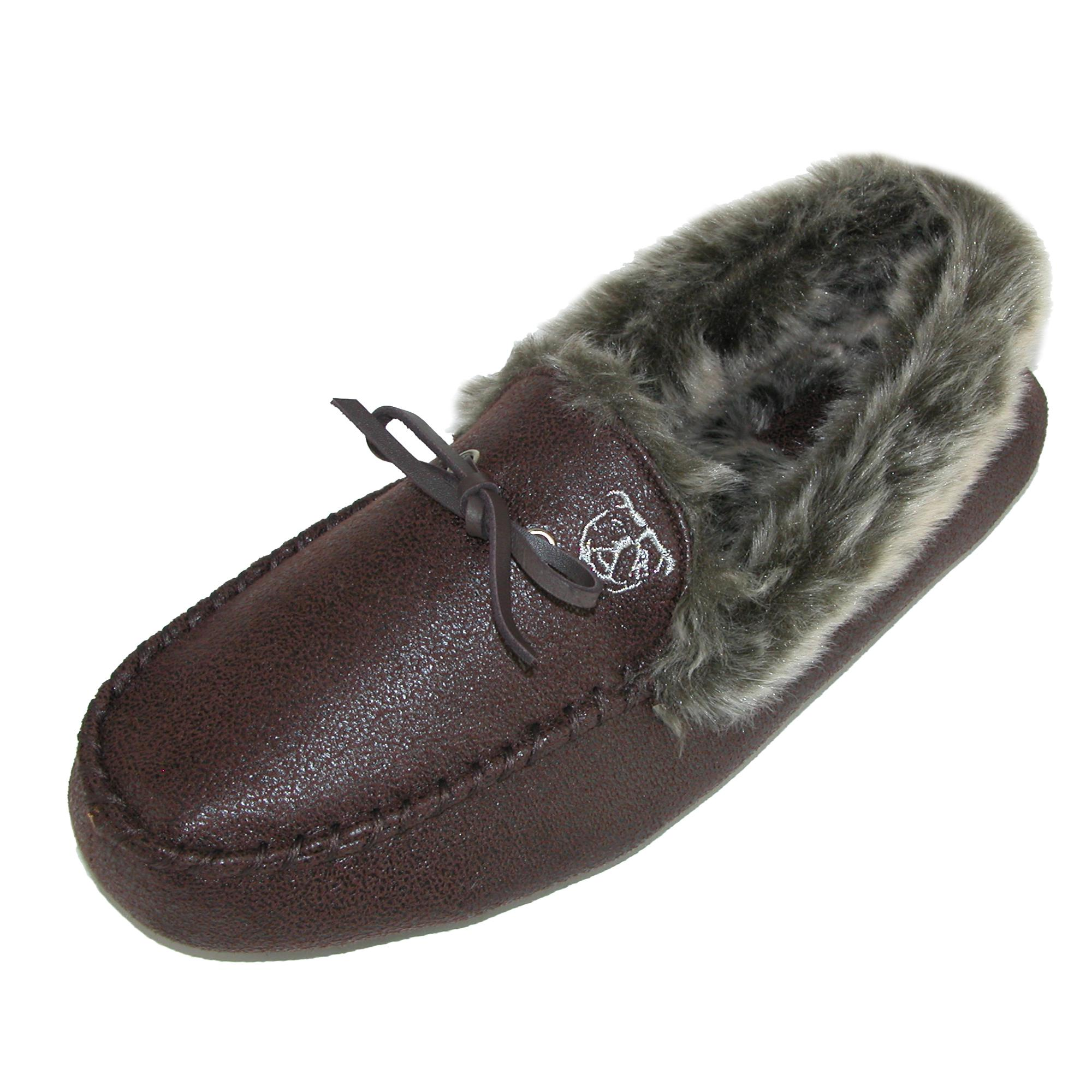 Ugly Me Mens Faux Suede Closed-back Jack Moccasin Slipper With Faux Fur Lining