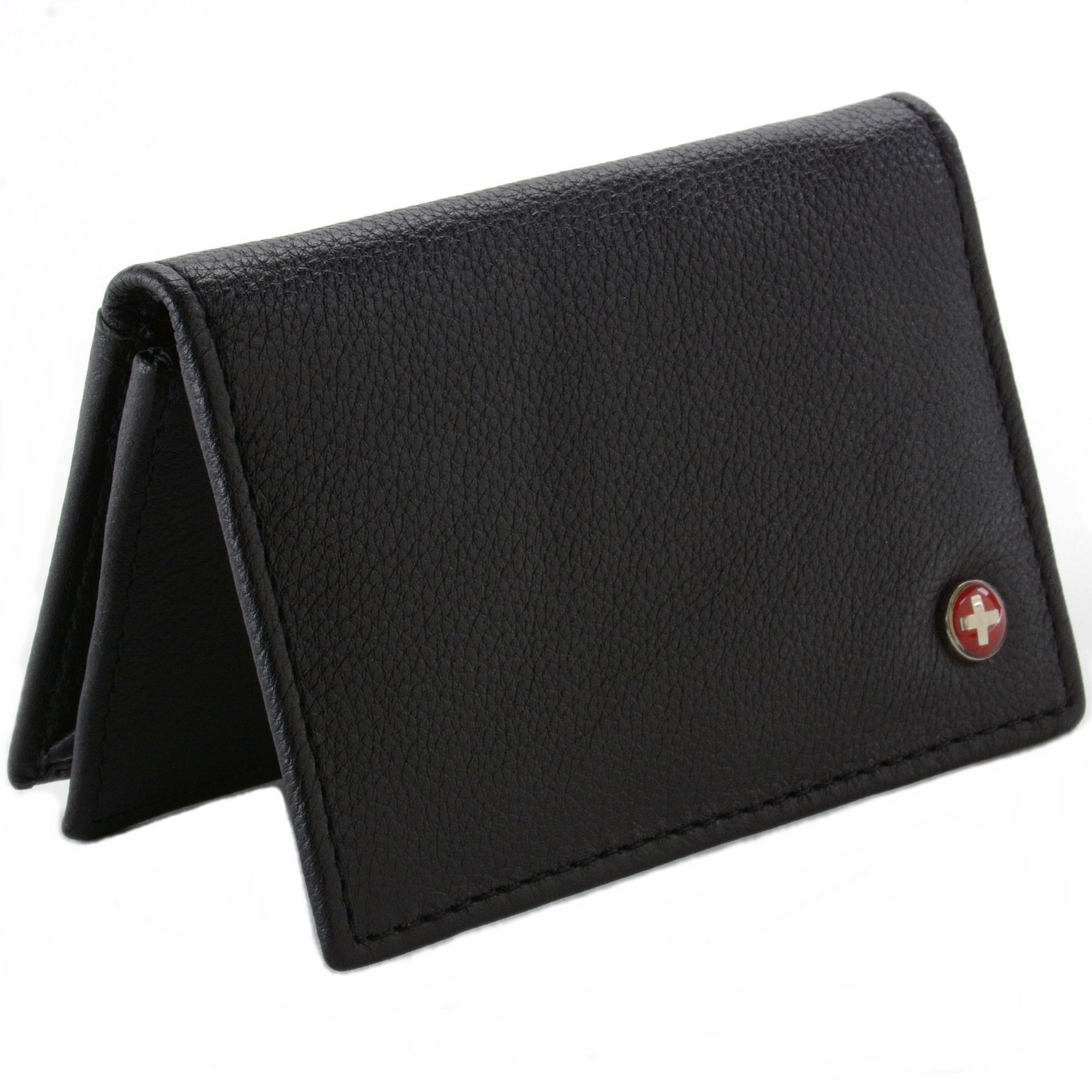 Alpine Swiss Classic Leather Business Card Wallet With ID Window ...