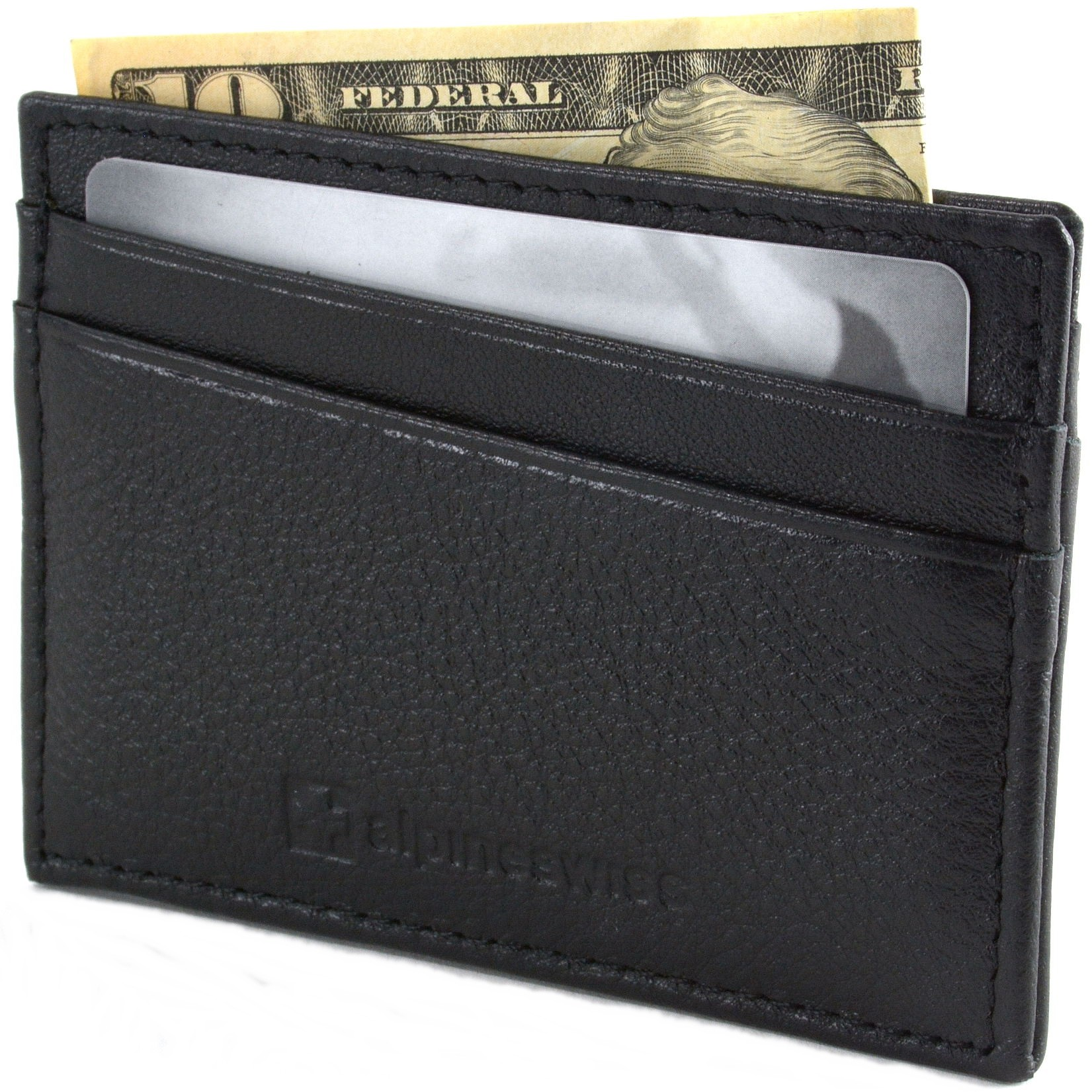 Alpine Swiss 5 Card Genuine Leather Front Pocket Wallet