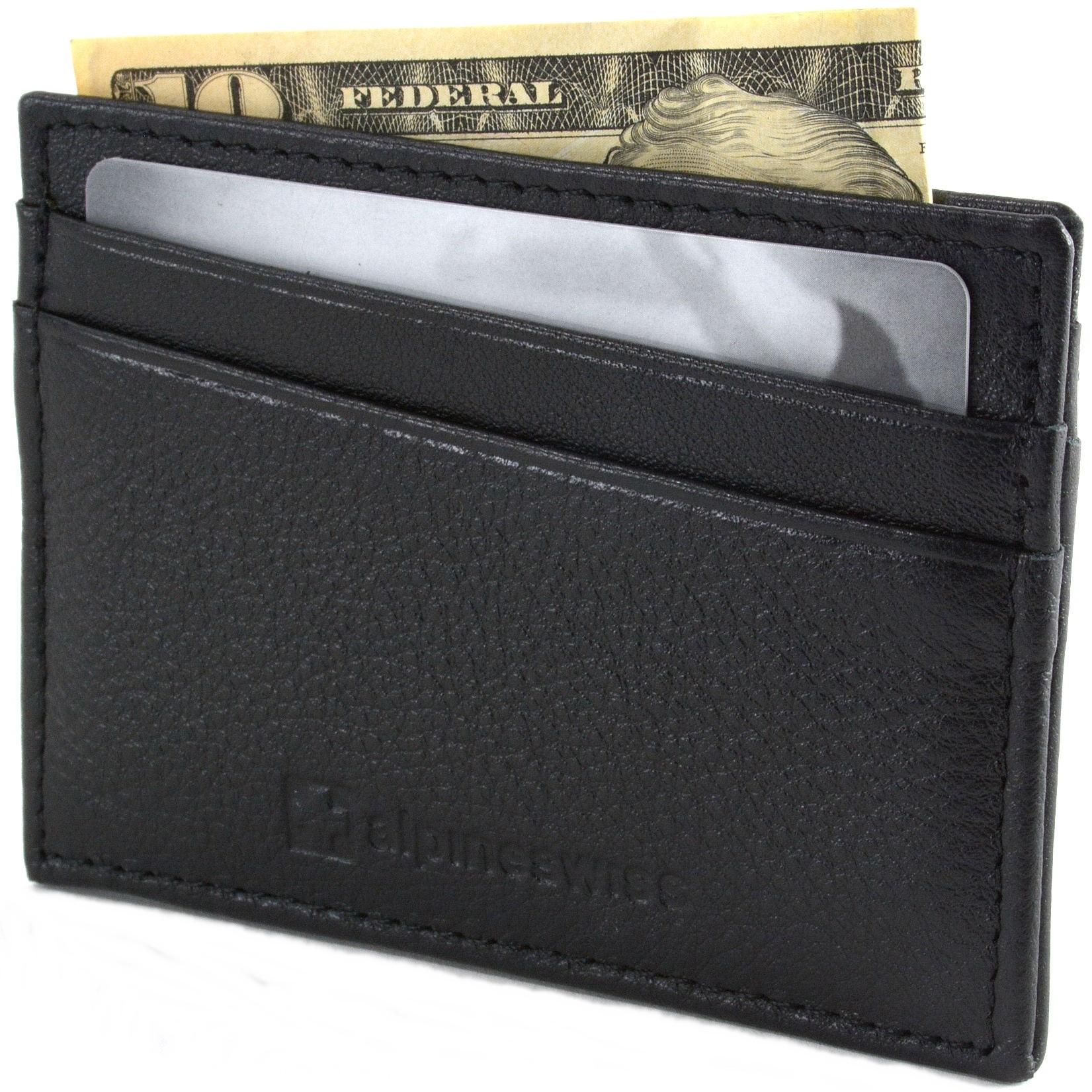 Alpine Swiss 5 Card Genuine Leather Front Pocket Wallet (Black)