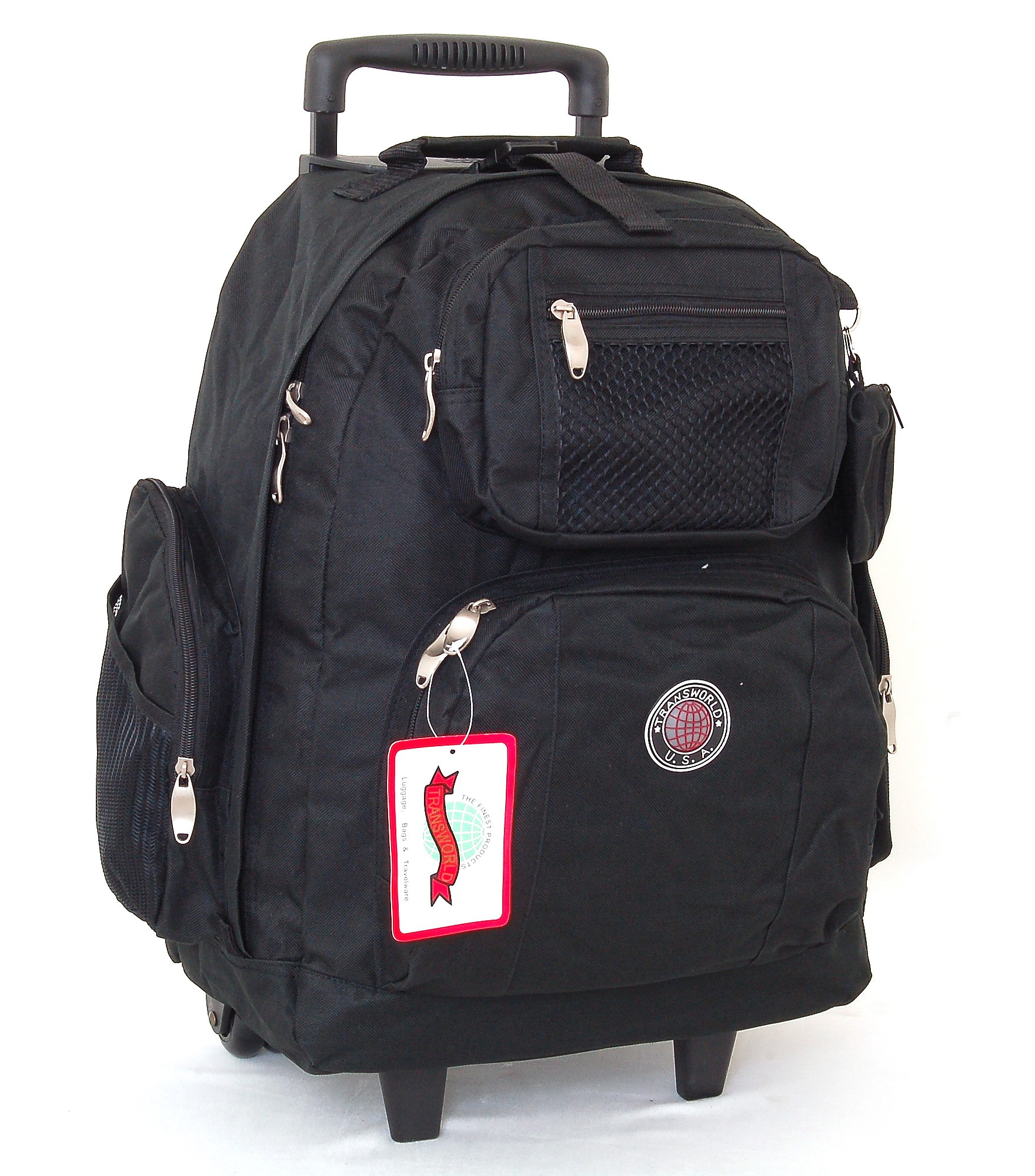 """18"""" Wheeled Backpack Roomy Rolling Book Bag w Handle Carry"""