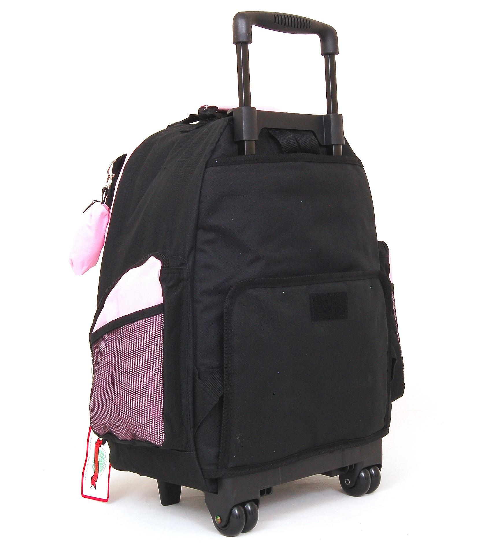 "18"" Wheeled Backpack Roomy Rolling Book Bag W/ Handle"