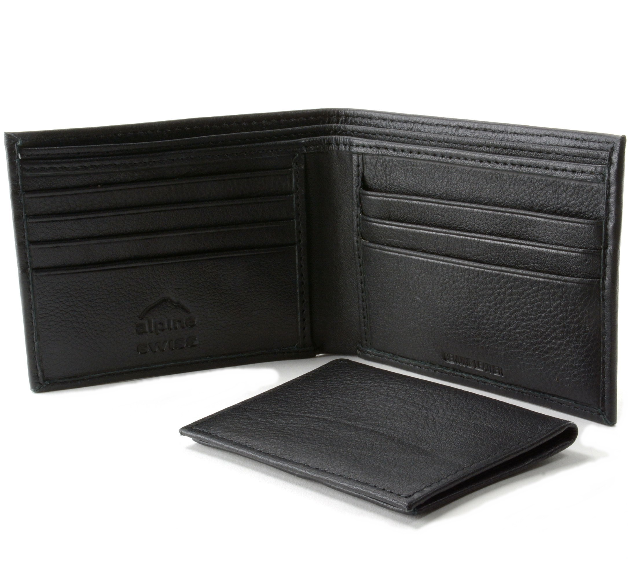 Alpine-Swiss-Mens-Wallet-Genuine-Leather-Divided-Bill-Section-Flipout-ID-Bifold thumbnail 26