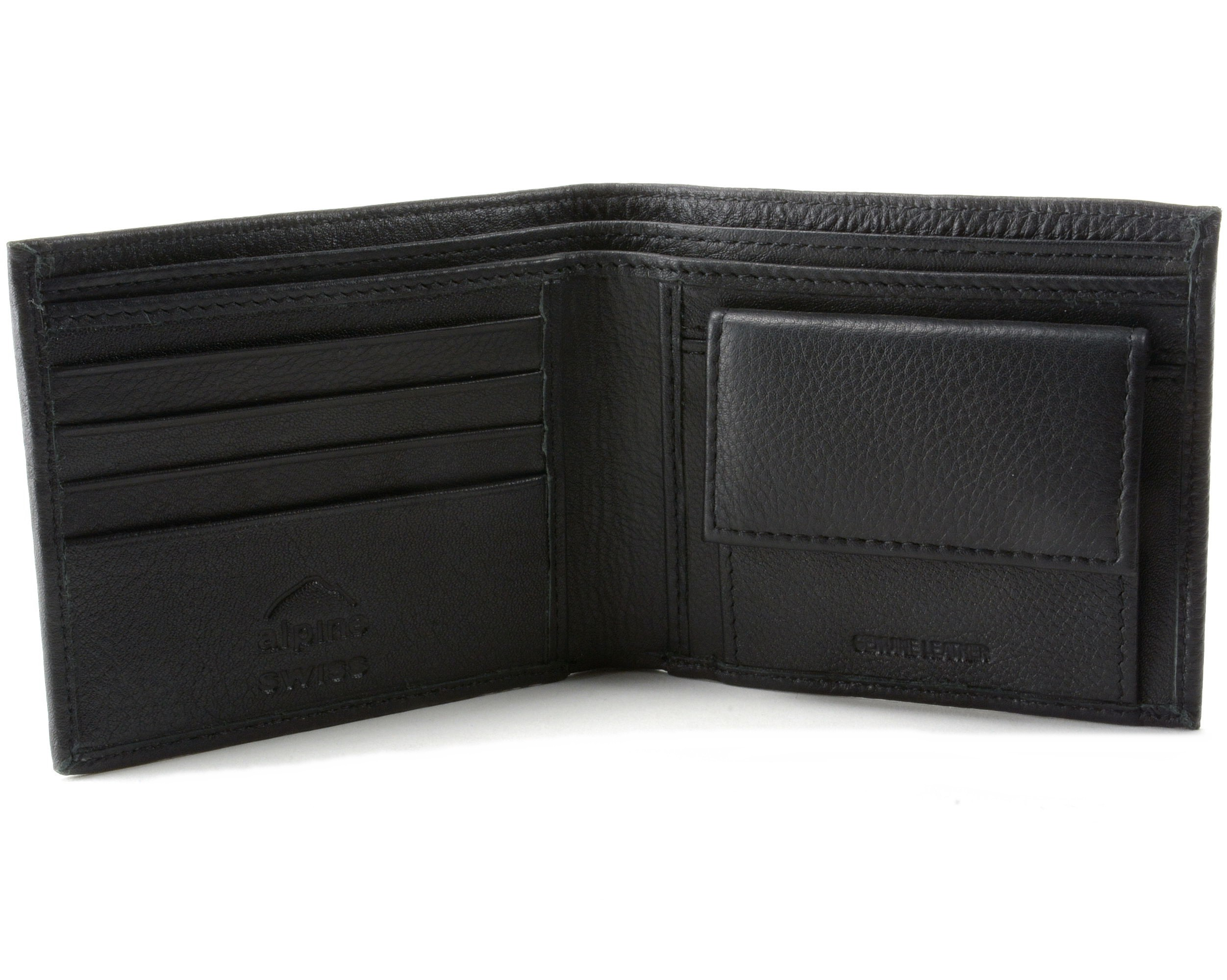 Mens Leather Bifold Wallet Coin Pocket Purse Pouch Alpine