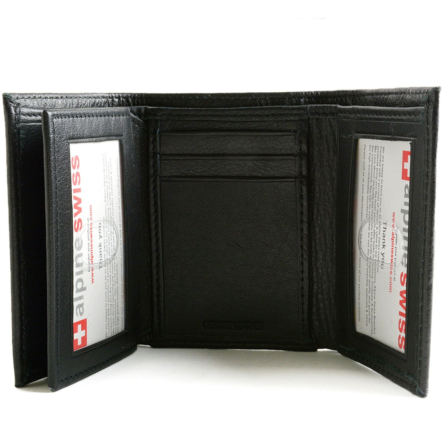 Alpine Swiss Mens Trifold Wallet Extra Capacity Multiple Card Slots