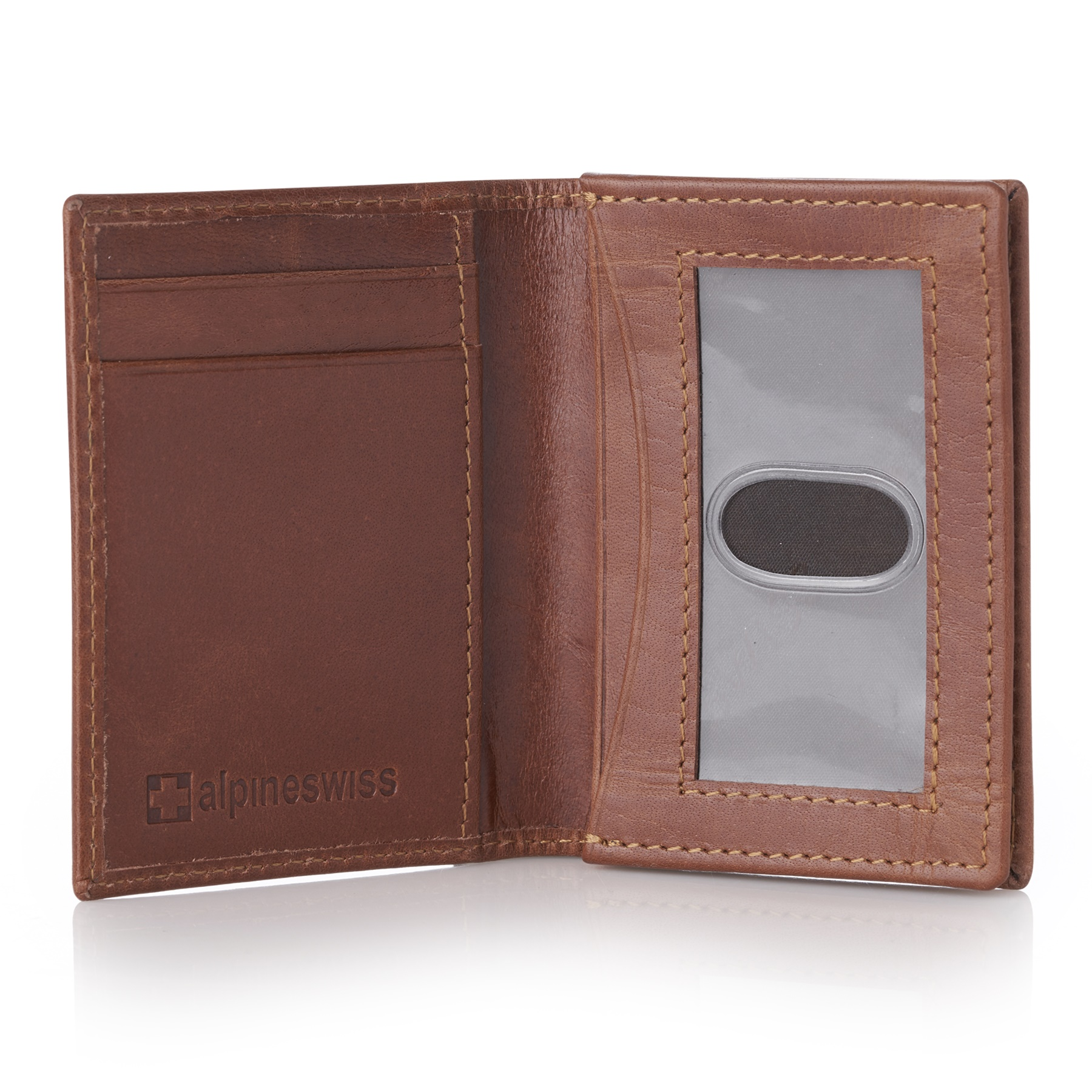 outlet store 4b66e f50c6 Details about Alpine Swiss RFID Leather Business Card Wallet Minimalist ID  Window Card Holder