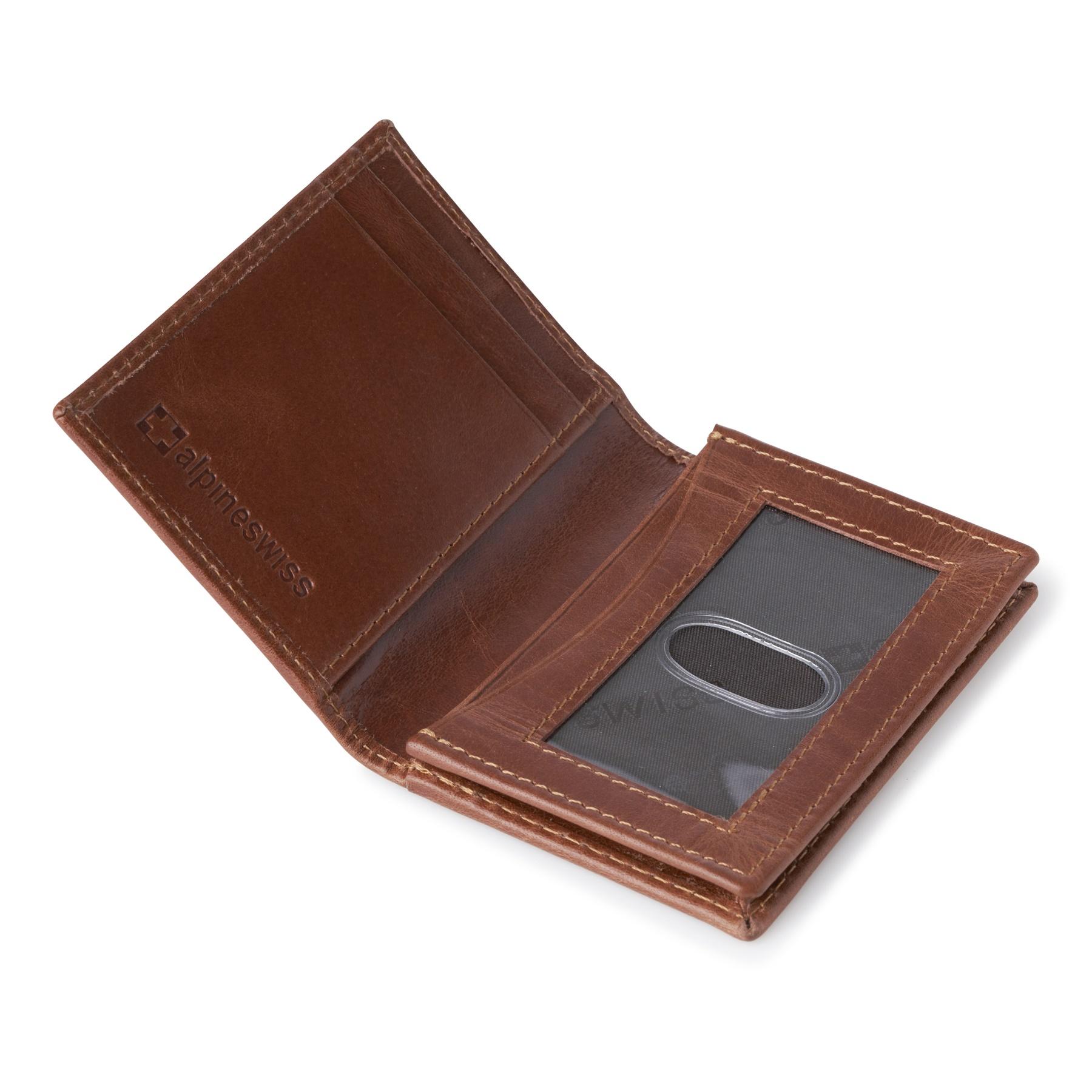Alpine-Swiss-RFID-Leather-Business-Card-Wallet-Minimalist-ID-Window-Card-Holder thumbnail 24