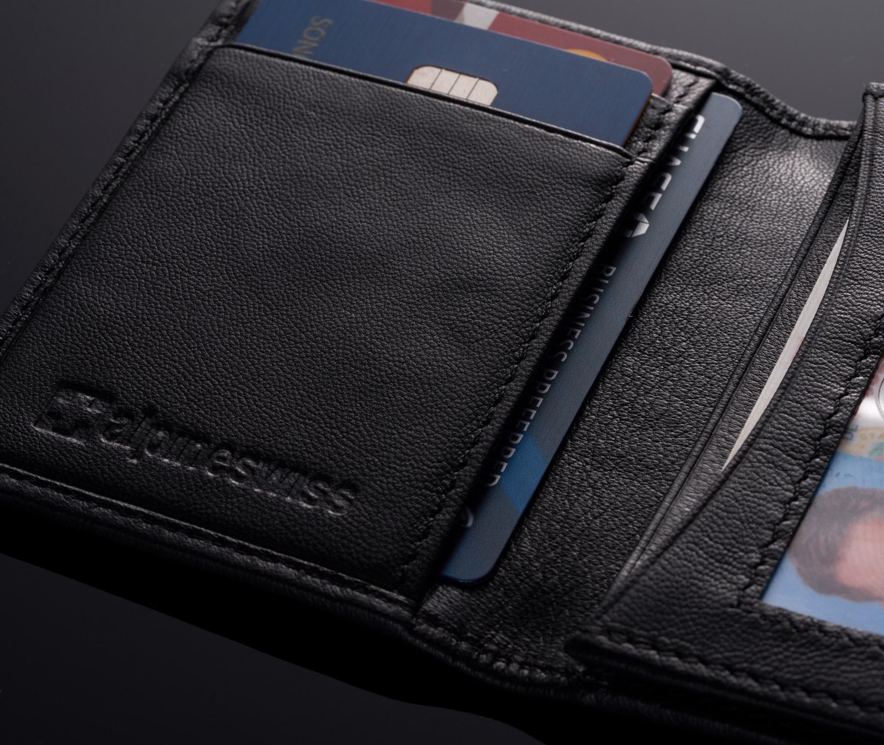Alpine-Swiss-RFID-Leather-Business-Card-Wallet-Minimalist-ID-Window-Card-Holder thumbnail 16