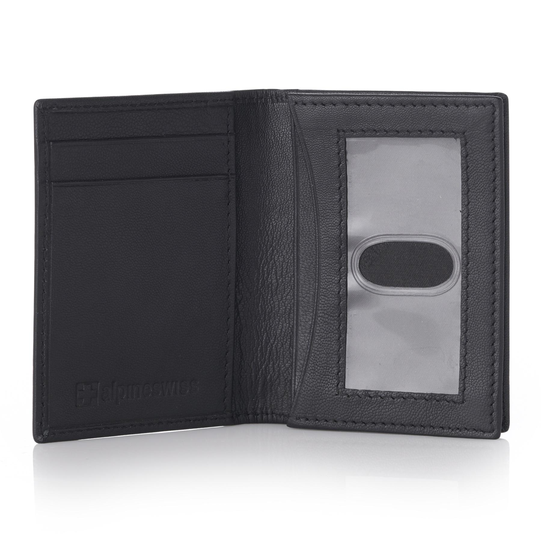 Alpine-Swiss-RFID-Leather-Business-Card-Wallet-Minimalist-ID-Window-Card-Holder thumbnail 18